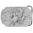 "Indian on Horse  Antiqued Belt Buckle - This exquisitely carved belt buckle features an Indian warrior in full headdress on a horse with a shield and spear and teepee's in the background. On the back is a quote about Crazy Horse. This buckle is made of fully cast metal with a standard bale that fits up to 2"" belts. Siskiyou's unique buckle designs often become collector's items and are unequaled with the best craftsmanship."