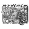 "Nevada Belt Buckle Antiqued Belt Buckle - Do you love Nevada? This buckle is for you! Nevada is boldly written across the top with a historic gold rush town, cards, rolled dice and a miner panning for gold. This exquistely carved buckle is made of fully cast metal with a standard bale that fits up to 2"" belts. Siskiyou's unique buckle designs often become collectors items and are unequaled with the best craftsmanship."