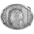"Indian Chief Antiqued Belt Buckle - This belt buckle features an Indian Chief in full headress with the words, I walk the Great Spirit on the back. This exquisitely carved buckle is made of fully cast metal with a standard bale that fits up to 2"" belts."