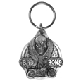 "Bad To The Bone Antiqued Key Chain - This Bad to the Bone key chain has a skull, a motorcycle with an eagle riding it and flames. On the back are the words ""Live to Ride Ride to Live"". Key chain is 1-1/2""."