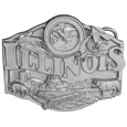 "Illinois Antiqued Belt Buckle - Illinois is written across this belt buckle in bold with the state seal above. There are two birds flying through the sky as well as ears of corn. On the bottom is a farm scene with a barn and silos, a harrow tractor, a pig and a cow. On the back are the words, Illinois became the 21st state on December 3, 1818. The capital of Illinois is Springfield. The state bird is the cardinal, the state tree is the oak , and the state flower is the native violet.This exquisitely carved buckle is made of fully cast metal with a standard bale that fits up to 2"" belts."