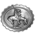 "End of the Trail Antiqued Belt Buckle - This beautiful End of the Trail buckle has an image of a horse and a worn out rider holding a spear, slunk over in exhaustion. This exquisite carved buckle is made of fully cast metal with a standard bale that fits up to 2"" belts."