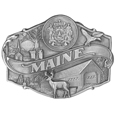 "Maine Antiqued Belt Buckle - This belt buckle celebrates Maine!  Maine is written in bold with scenes of Maine surrounding it including the state seal, a covered bridge and a deer. This exquisitely carved buckle is made of fully cast metal with a standard bale that fits up to 2"" belts."