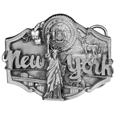 "New York Antiqued Belt Buckle - Do you love New York? This belt buckle is for you! New York is written in bold with scenes of New York surrounding it including the state seal, the cityscape, the Statue of Liberty, apples and a deer.  On the back are the words, New York became the 11th state on July 26, 1788.  The state tree is the Sugar Maple, the state flower is the Rose, and the state bird is the Bluebird. This exquisitely carved buckle is made of fully cast metal with a standard bale that fits up to 2"" belts."