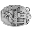 "Roofer Antiqued Belt Buckle - This belt buckle celebrates the roofer! It has Roofer in bold across the top. Underneath is a man with a nail gun applying shingles to a roof. There is a ladder, hammer, nail gun and staples as well. On the back are the words, Roofers perform one of the most important jobs in construction. They literally put a roof over your head. This exquisitely carved buckle is made of fully cast metal with a standard bale that fits up to 2"" belts."