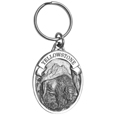 "Yellowstone Bison Antiqued Key Chain - Yellowstone key chain has a bison in the center, a banner with Yellowstone on it and the Rocky Mountains in the background. On the back are the words Yellowstone…America's First National Park. Key chain is 1-1/4"" x 1-3/4""."