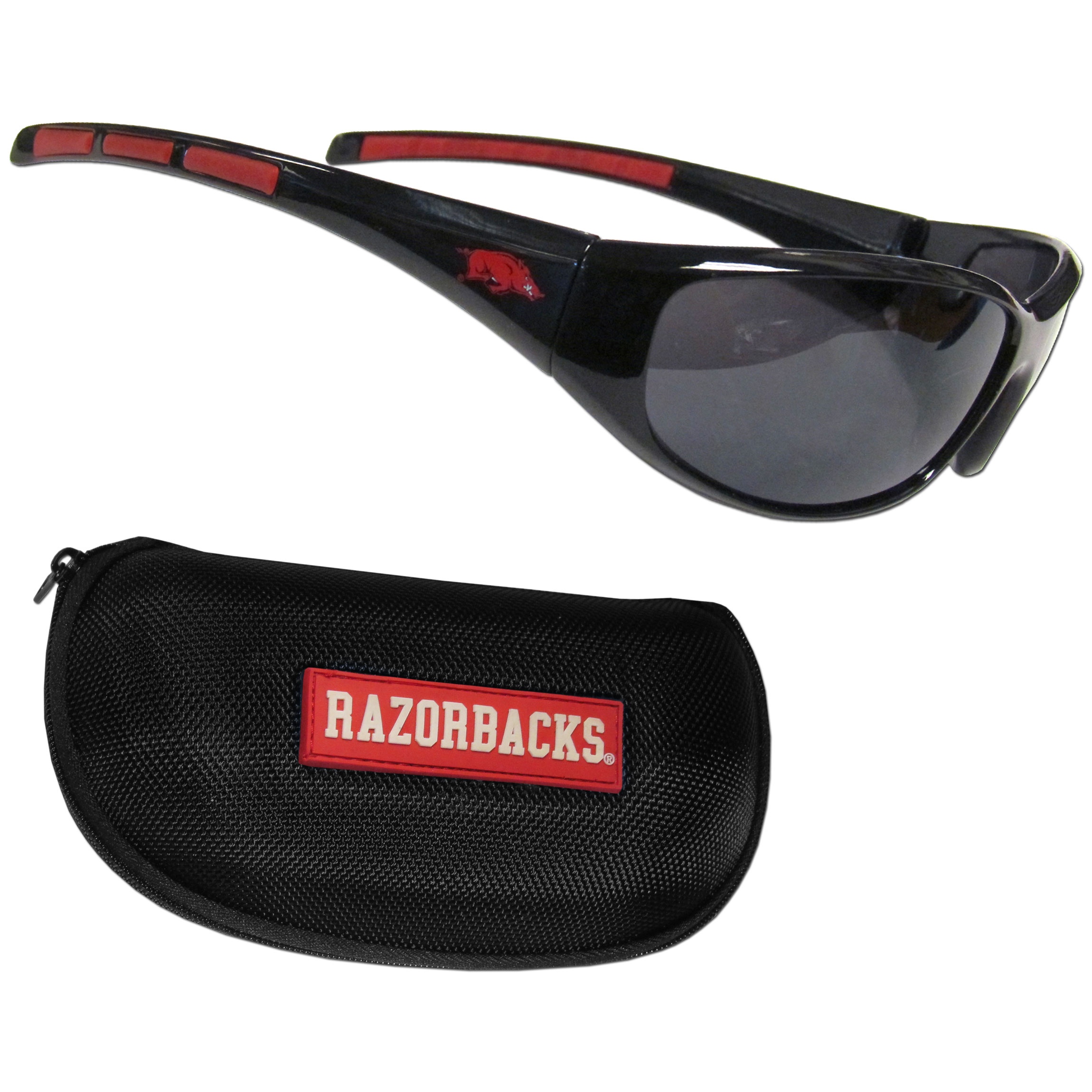 Arkansas Razorbacks Wrap Sunglass and Case Set - This great set includes a high quality pair of Arkansas Razorbacks wrap sunglasses and hard carrying case.