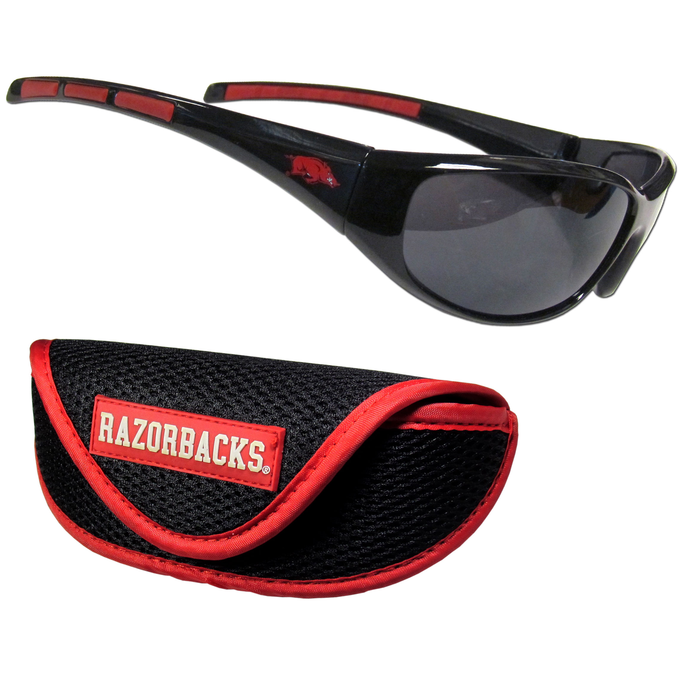 Arkansas Razorbacks Wrap Sunglass and Case Set - This great set includes a high quality pair of Arkansas Razorbacks wrap sunglasses and sport carrying case.