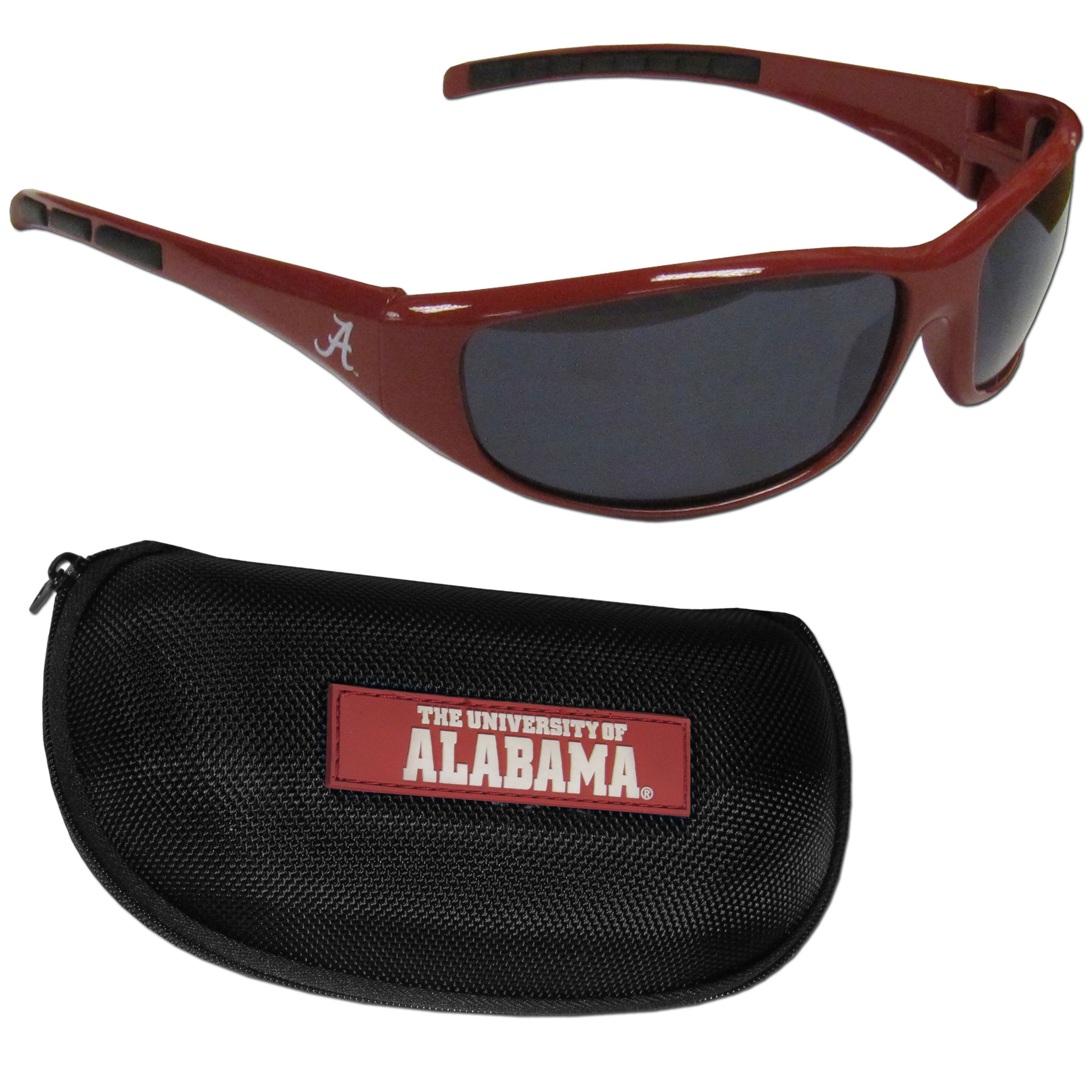 Alabama Crimson Tide Wrap Sunglass and Case Set - This great set includes a high quality pair of Alabama Crimson Tide wrap sunglasses and hard carrying case.