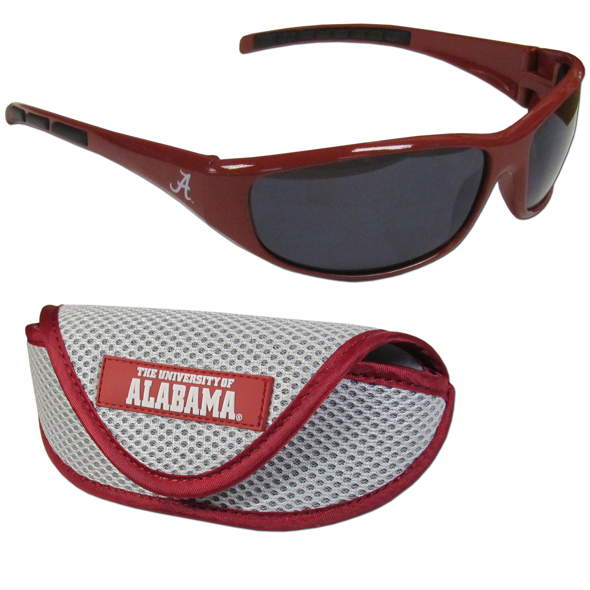 Alabama Crimson Tide Wrap Sunglass and Case Set - This great set includes a high quality pair of Alabama Crimson Tide wrap sunglasses and soft sport carrying case.