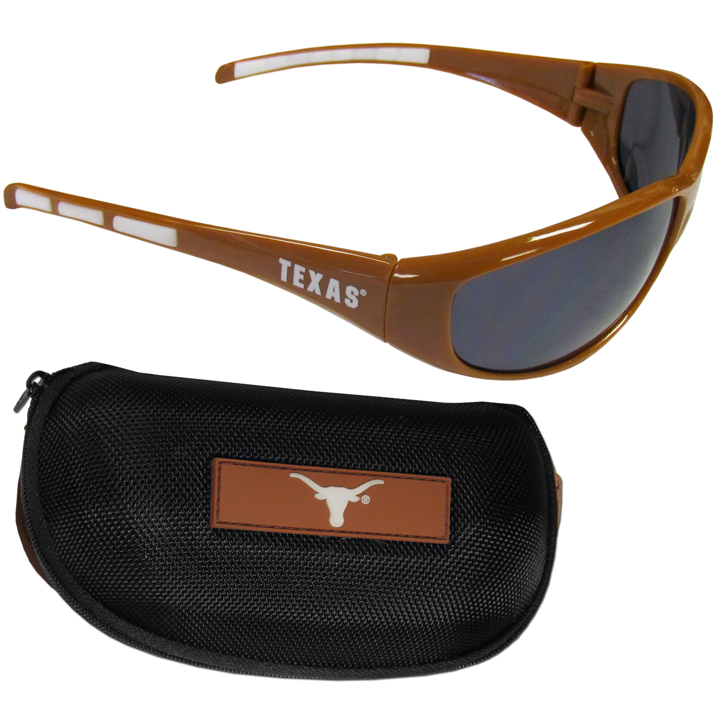 Texas Longhorns Wrap Sunglass and Case Set - This great set includes a high quality pair of Texas Longhorns wrap sunglasses and hard carrying case.