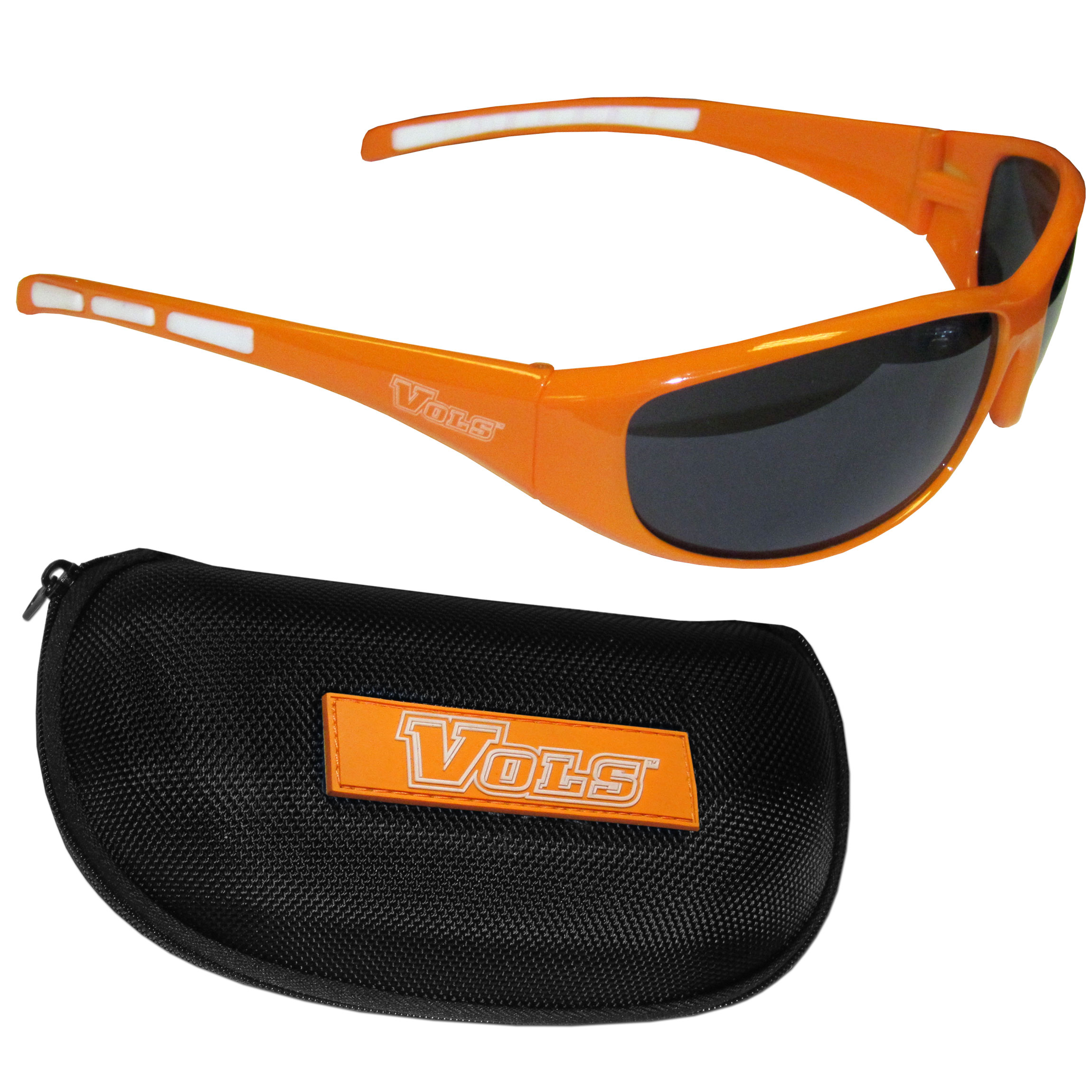 Tennessee Volunteers Wrap Sunglass and Case Set - This great set includes a high quality pair of Tennessee Volunteers wrap sunglasses and hard carrying case.