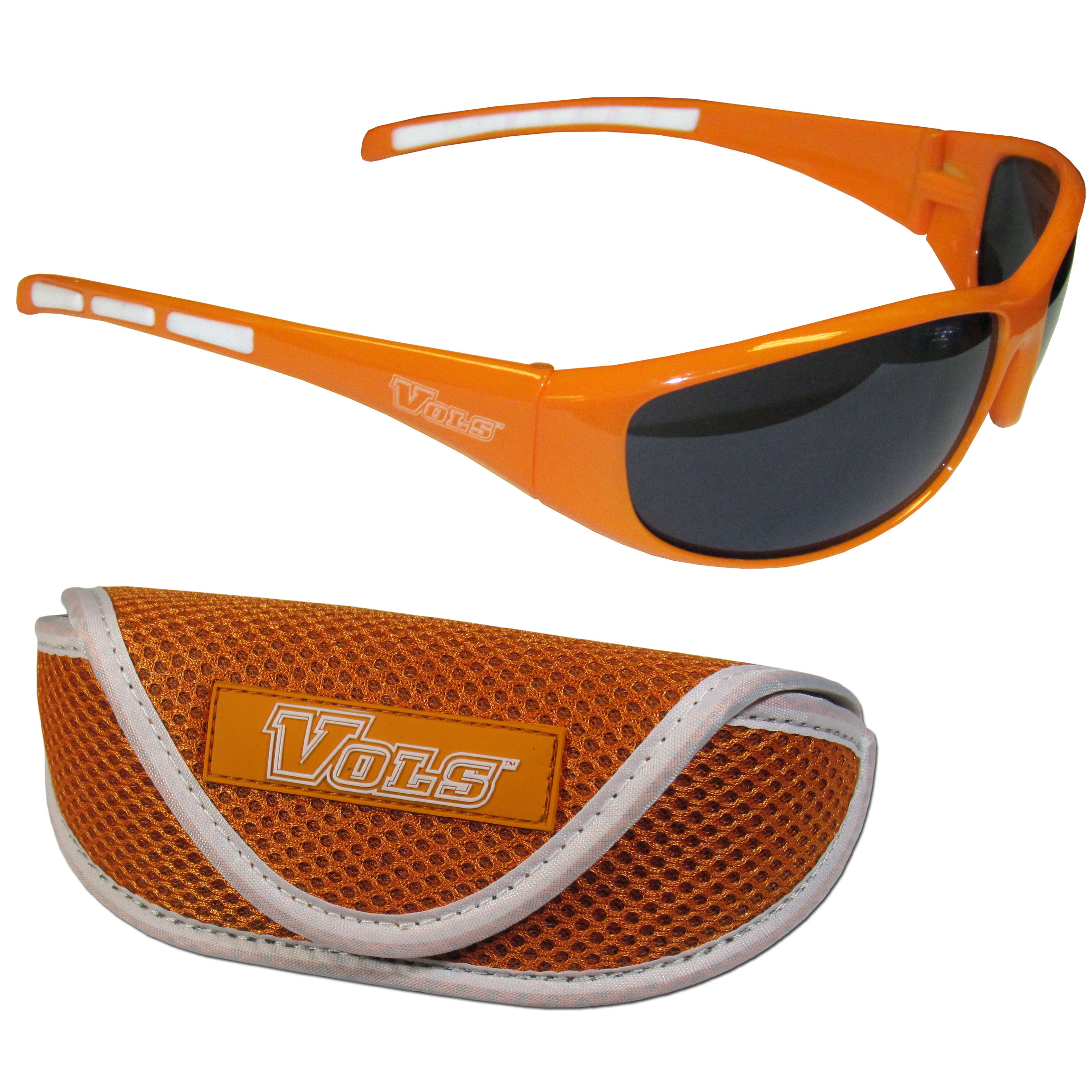 Tennessee Volunteers Wrap Sunglass and Case Set - This great set includes a high quality pair of Tennessee Volunteers wrap sunglasses and soft sport carrying case.