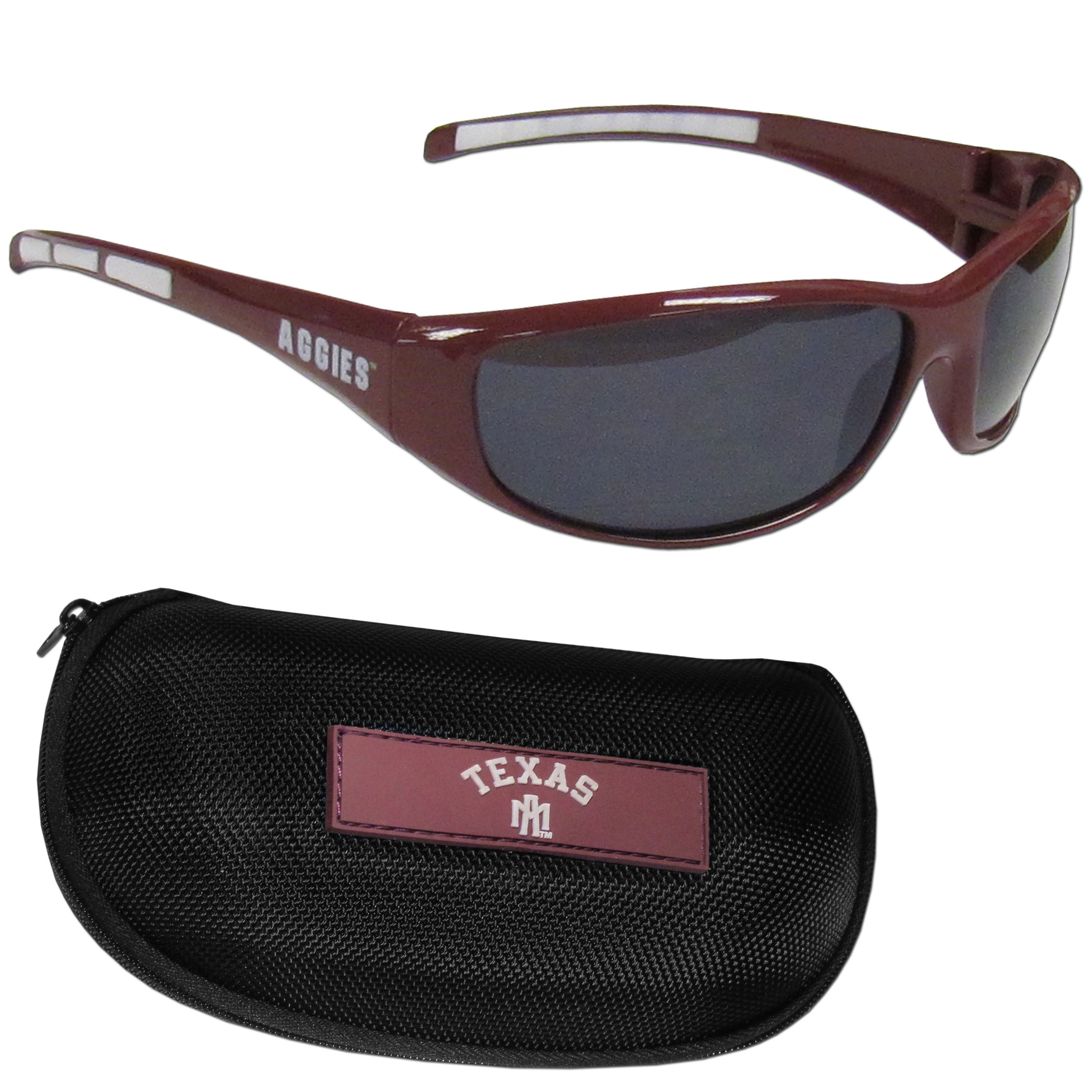 Texas A and M Aggies Wrap Sunglass and Case Set - This great set includes a high quality pair of Texas A & M Aggies wrap sunglasses and hard carrying case.