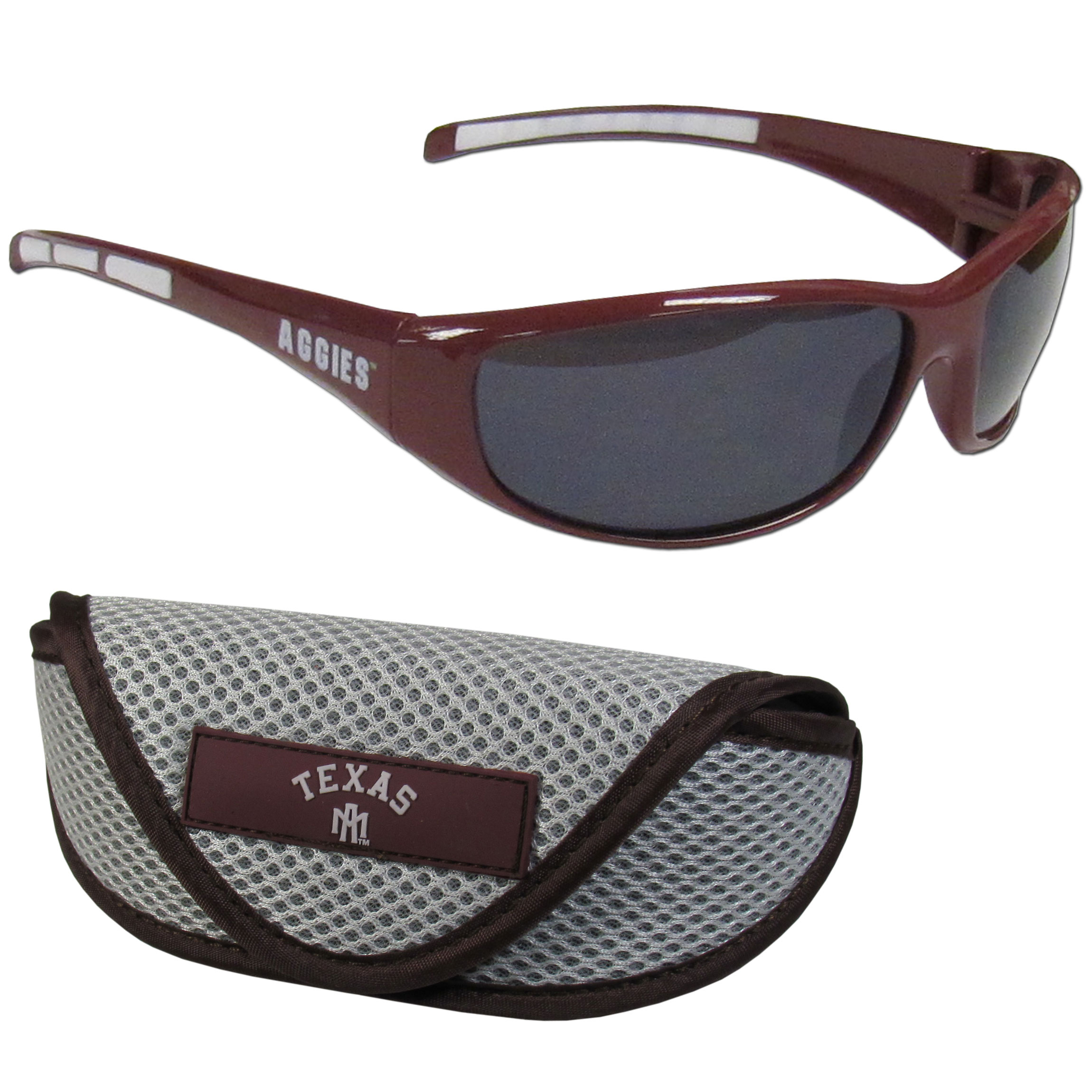 Texas A and M Aggies Wrap Sunglass and Case Set - This great set includes a high quality pair of Texas A & M Aggies wrap sunglasses and soft sport carrying case.