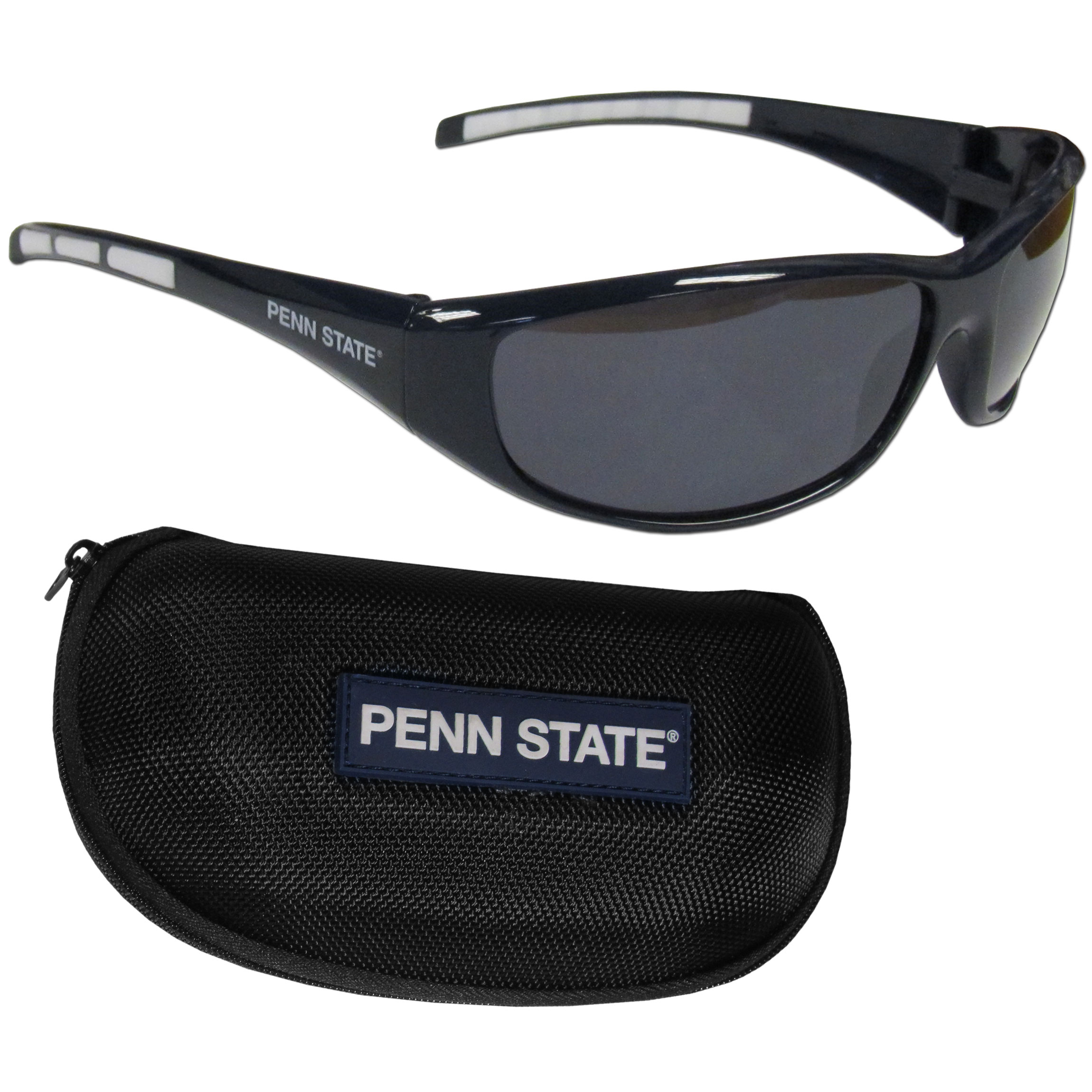 Penn St. Nittany Lions Wrap Sunglass and Case Set - This great set includes a high quality pair of Penn St. Nittany Lions wrap sunglasses and hard carrying case.