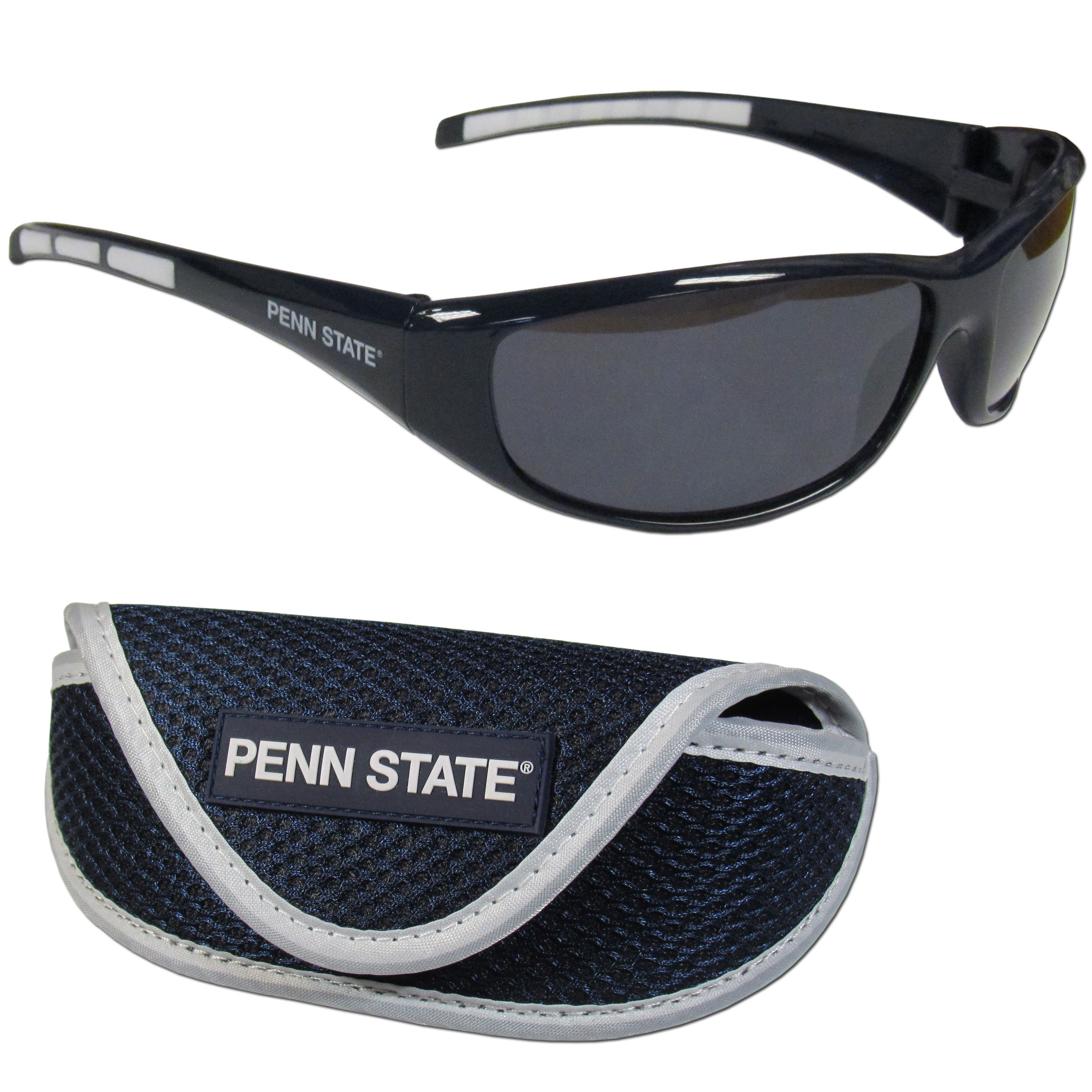 Penn St. Nittany Lions Wrap Sunglass and Case Set - This great set includes a high quality pair of Penn St. Nittany Lions wrap sunglasses and soft sport carrying case.