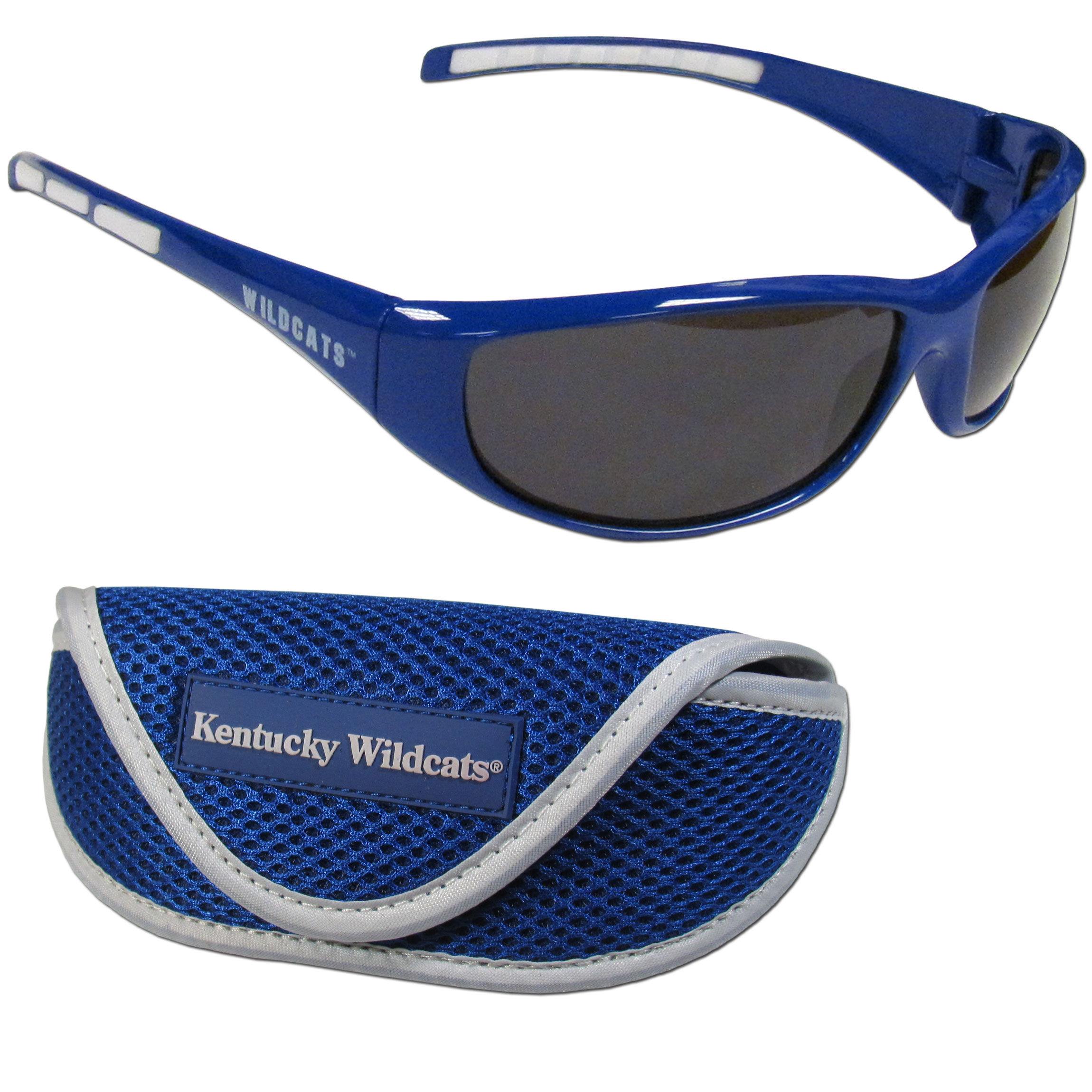 Kentucky Wildcats Wrap Sunglass and Case Set - This great set includes a high quality pair of Kentucky Wildcats wrap sunglasses and soft sport carrying case.