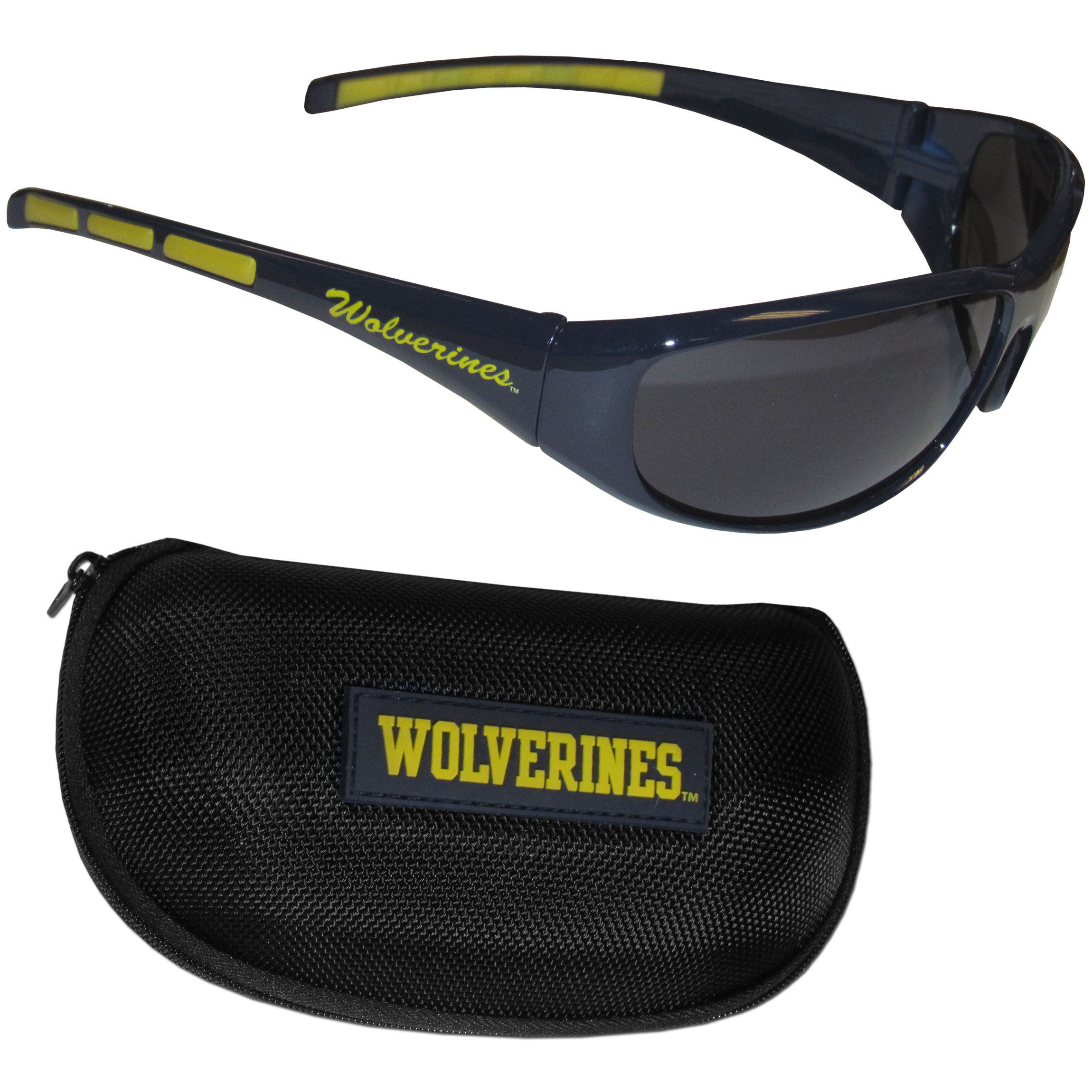 Michigan Wolverines Wrap Sunglass and Case Set - This great set includes a high quality pair of Michigan Wolverines wrap sunglasses and hard carrying case.