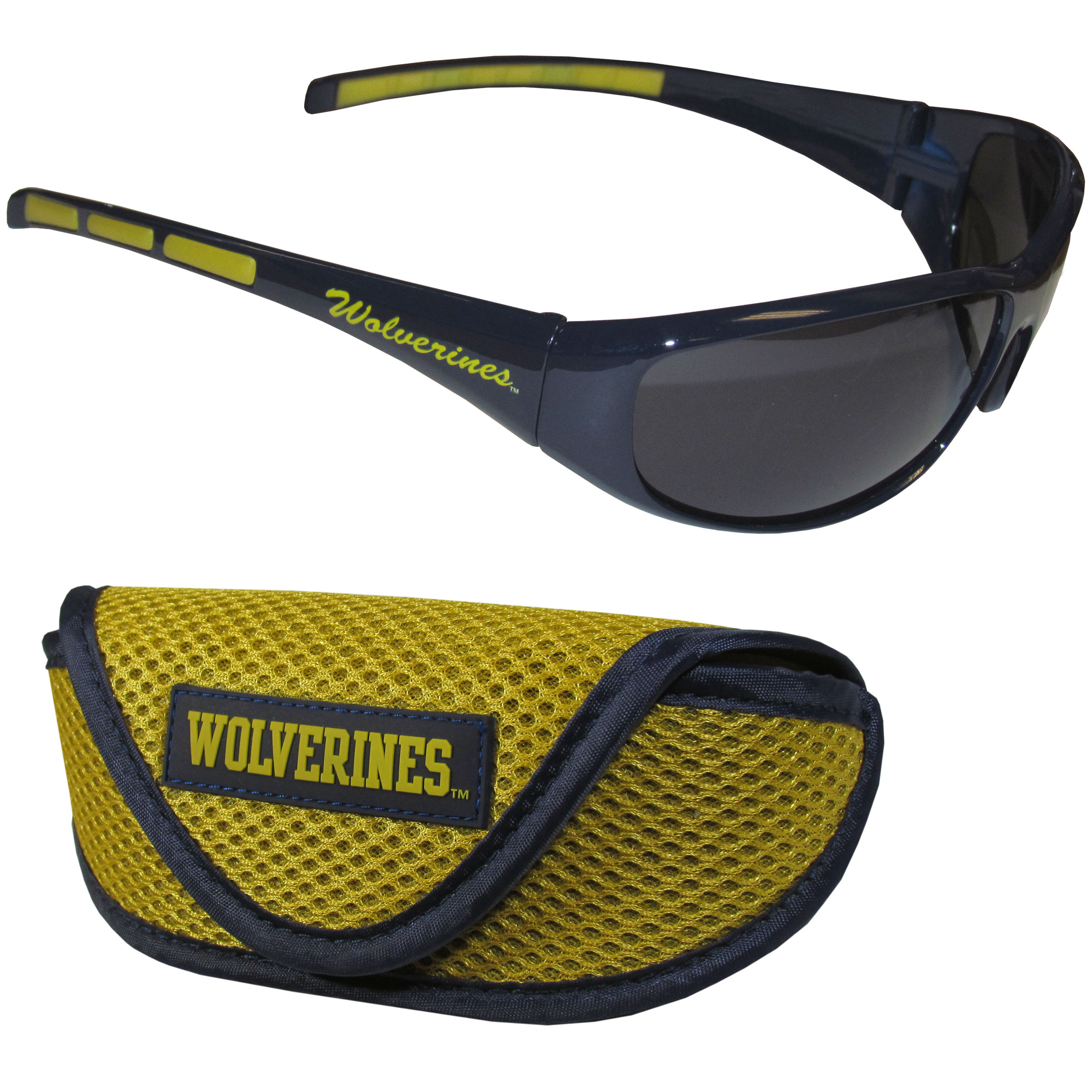 Michigan Wolverines Wrap Sunglass and Case Set - This great set includes a high quality pair of Michigan Wolverines wrap sunglasses and soft sport carrying case.