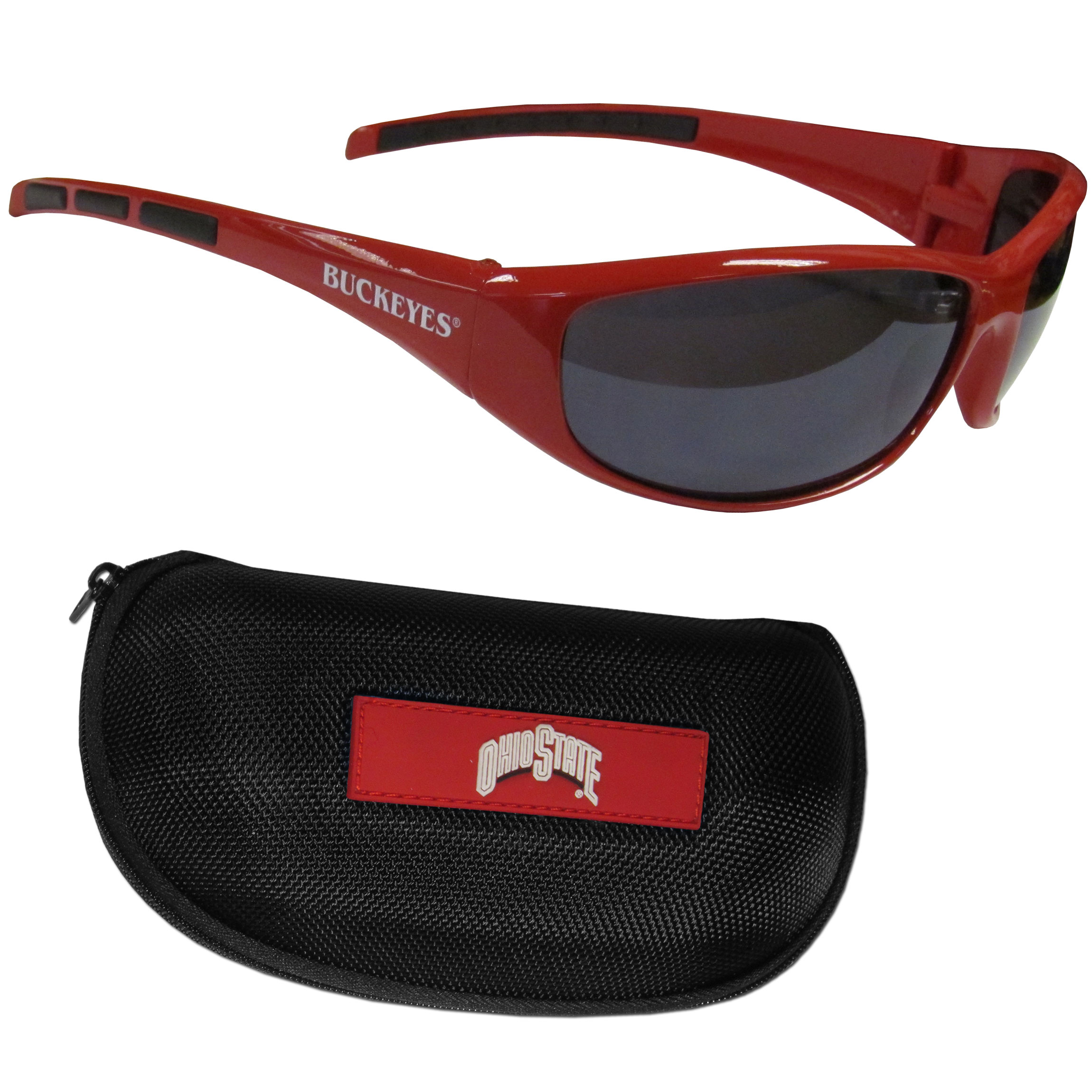 Ohio St. Buckeyes Wrap Sunglass and Case Set - This great set includes a high quality pair of Ohio St. Buckeyes wrap sunglasses and hard carrying case.