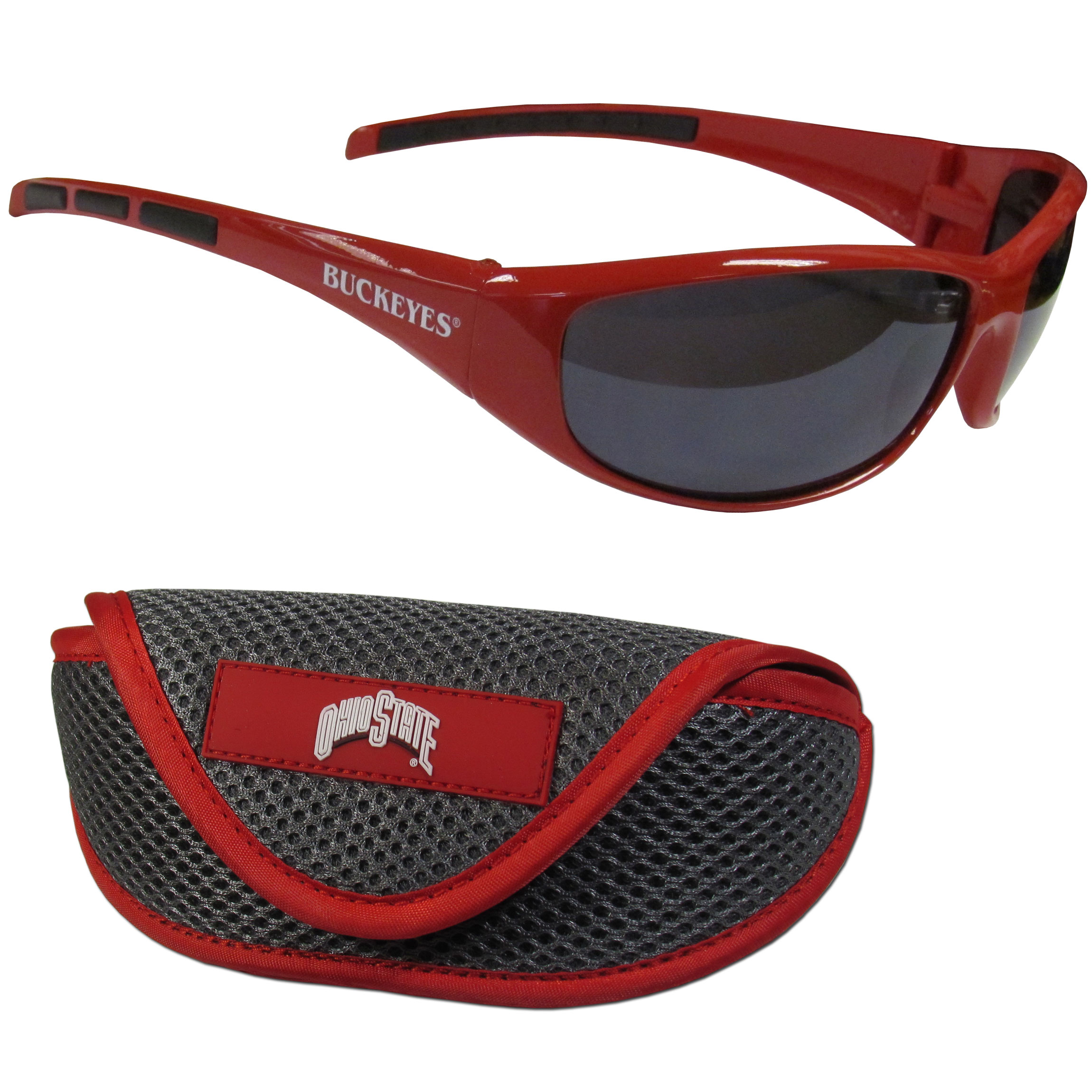 Ohio St. Buckeyes Wrap Sunglass and Case Set - This great set includes a high quality pair of Ohio St. Buckeyes wrap sunglasses and soft sport carrying case.