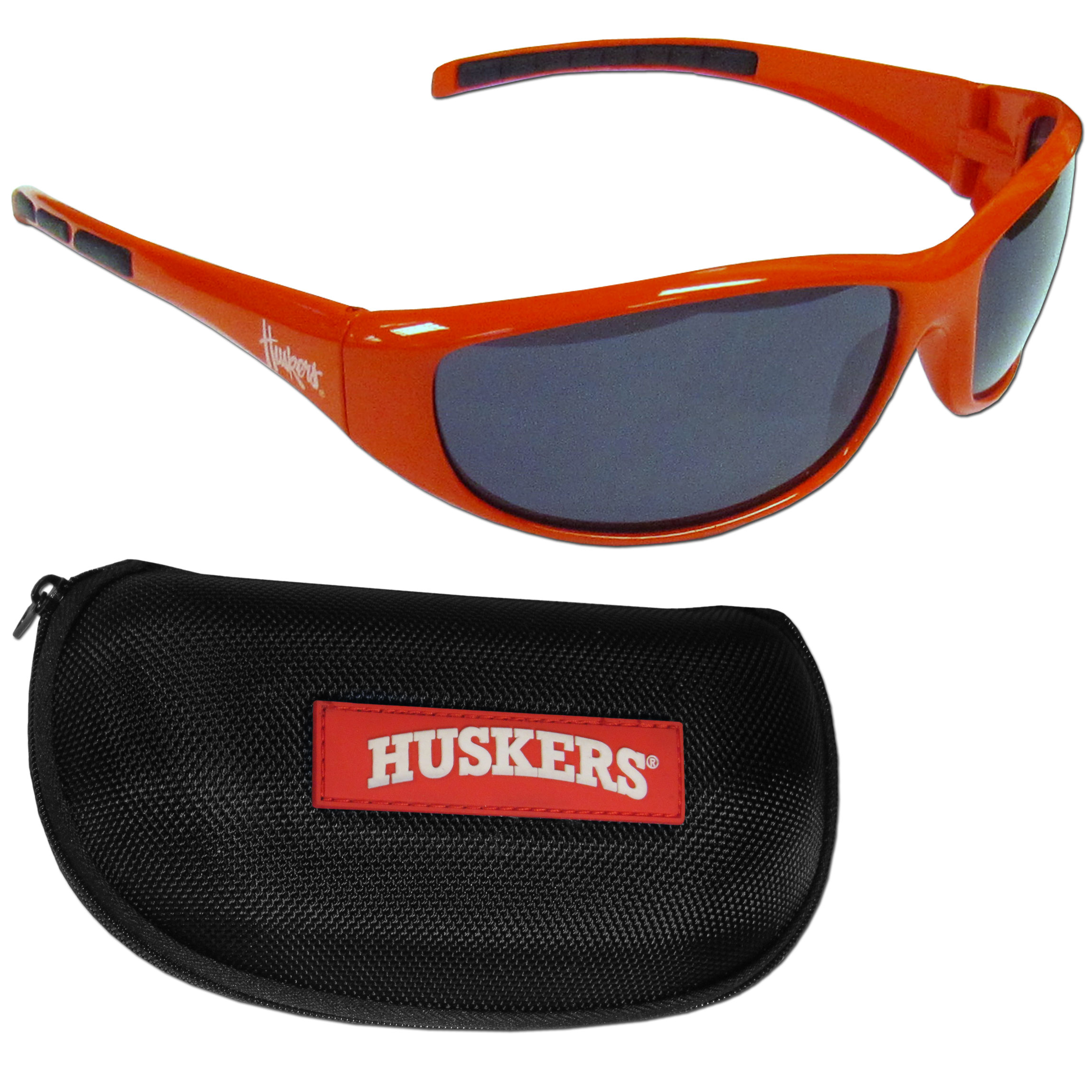 Nebraska Cornhuskers Wrap Sunglass and Case Set - This great set includes a high quality pair of Nebraska Cornhuskers wrap sunglasses and hard carrying case.