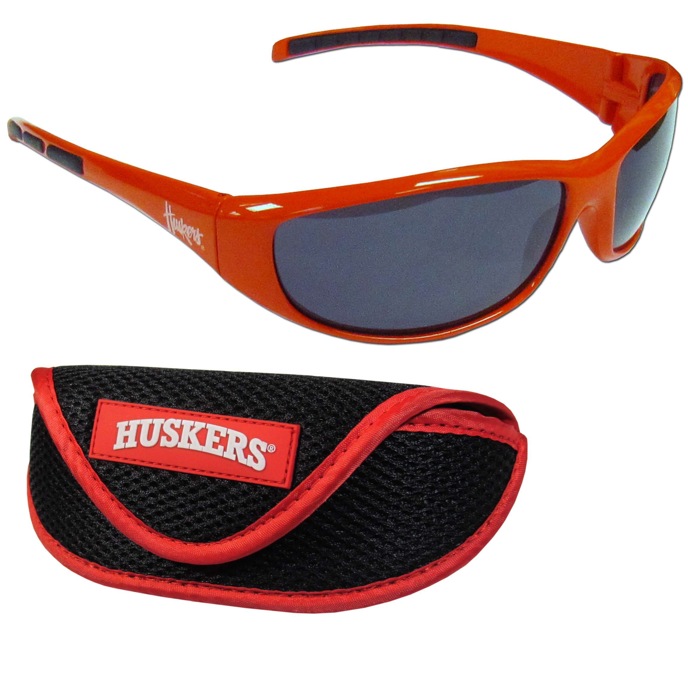 Nebraska Cornhuskers Wrap Sunglass and Case Set - This great set includes a high quality pair of Nebraska Cornhuskers wrap sunglasses and soft sport carrying case.