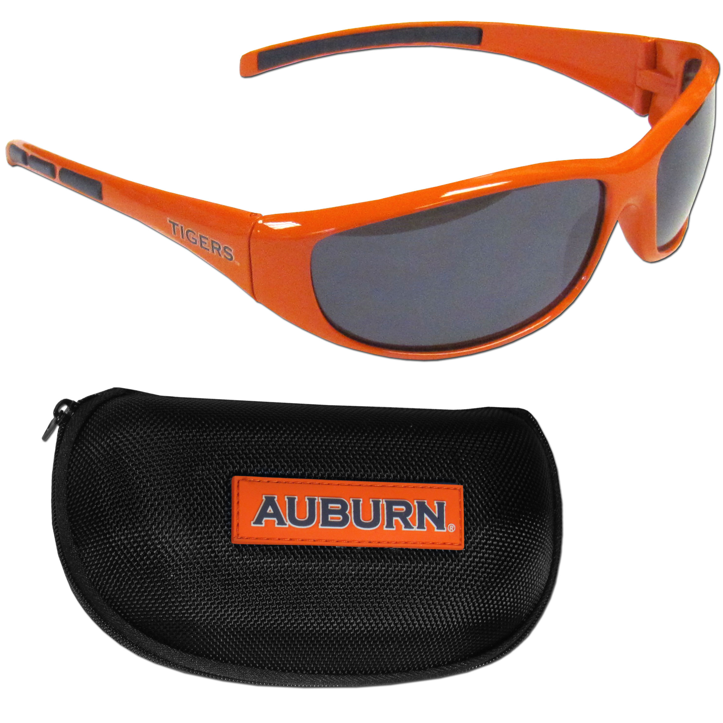 Auburn Tigers Wrap Sunglass and Case Set - This great set includes a high quality pair of Auburn Tigers wrap sunglasses and hard carrying case.
