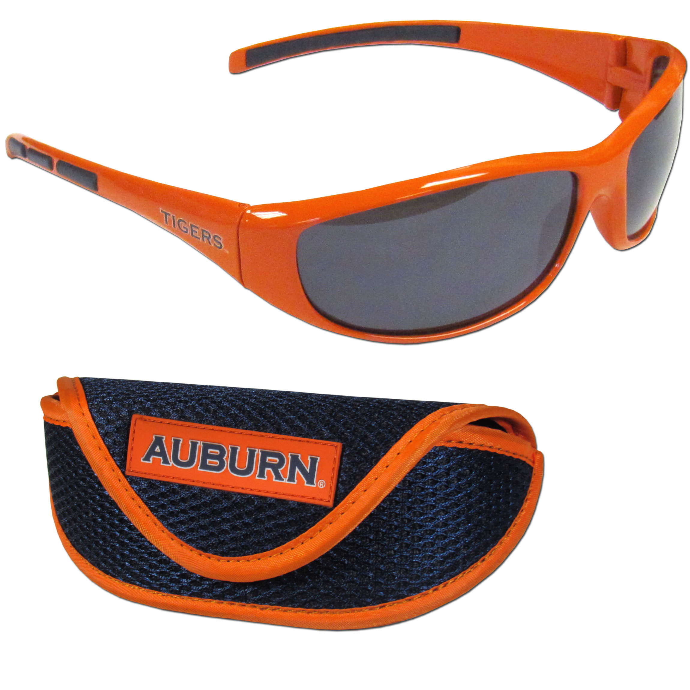 Auburn Tigers Wrap Sunglass and Case Set - This great set includes a high quality pair of Auburn Tigers wrap sunglasses and soft sport carrying case.