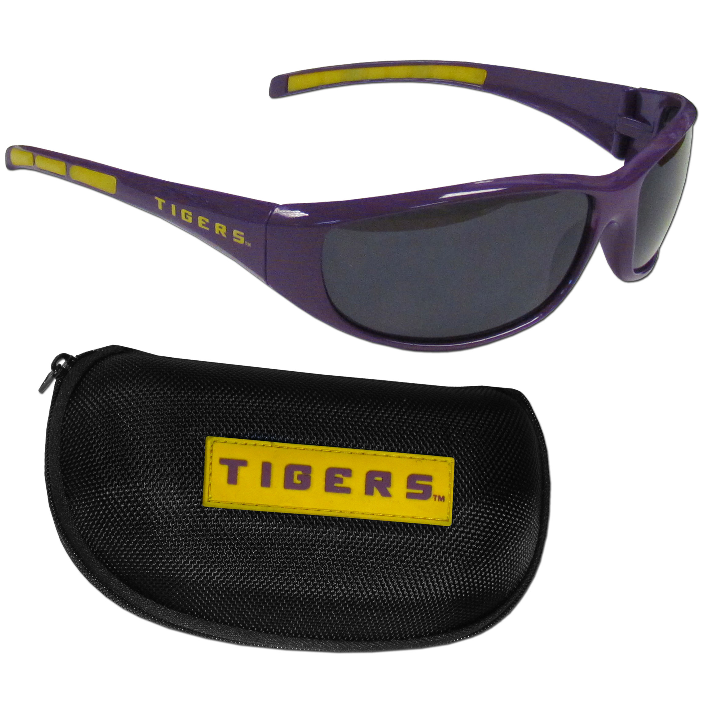 LSU Tigers Wrap Sunglass and Case Set - This great set includes a high quality pair of LSU Tigers wrap sunglasses and hard carrying case.