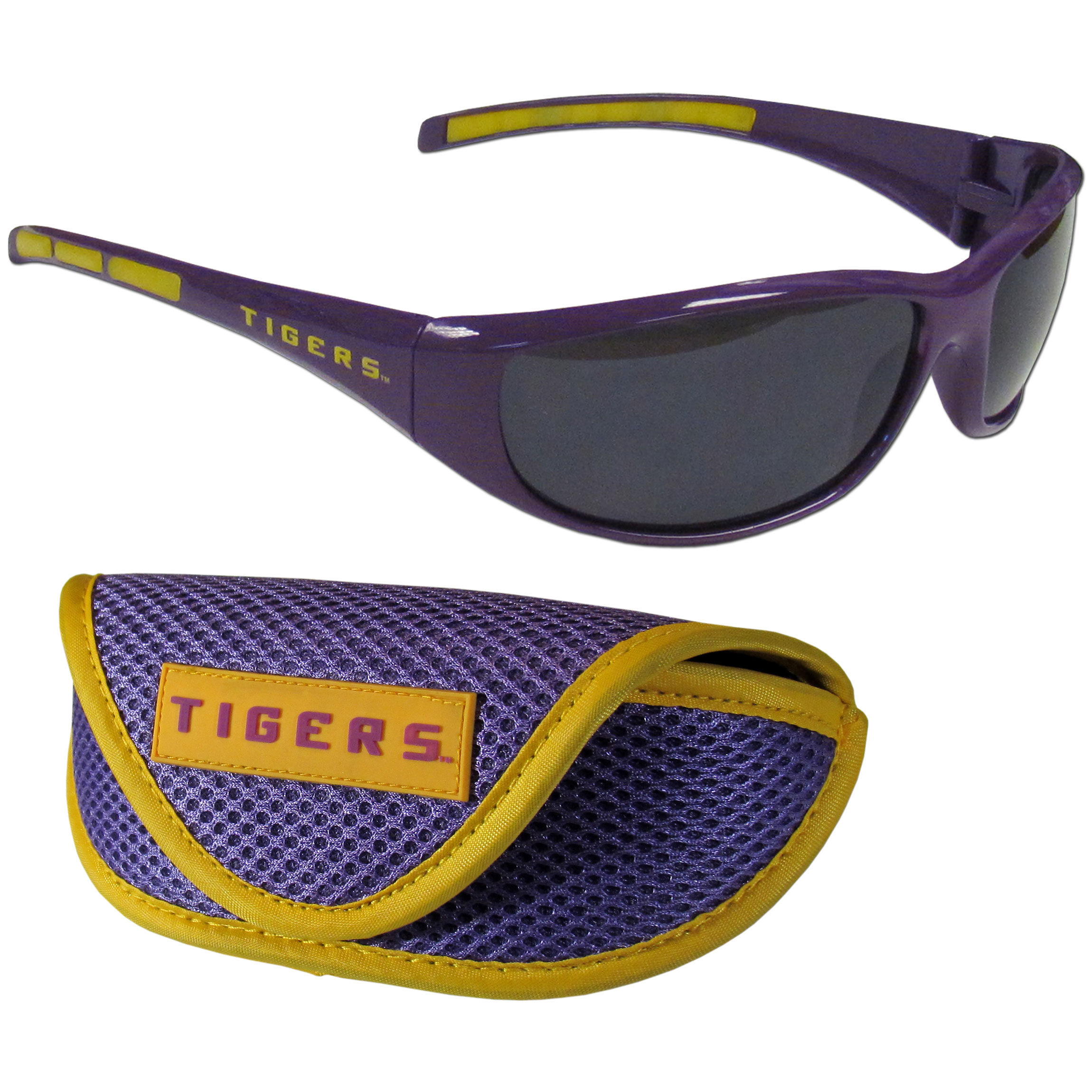 LSU Tigers Wrap Sunglass and Case Set - This great set includes a high quality pair of LSU Tigers wrap sunglasses and soft sport carrying case.