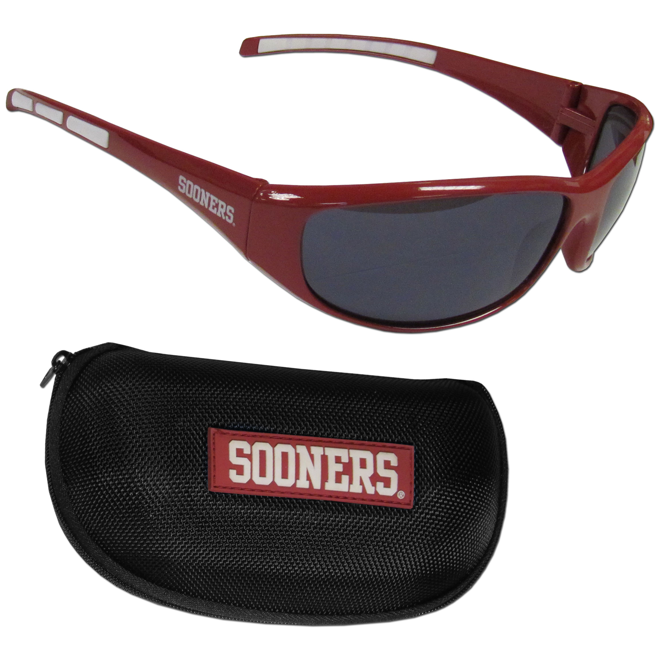 Oklahoma Sooners Wrap Sunglass and Case Set - This great set includes a high quality pair of Oklahoma Sooners wrap sunglasses and hard carrying case.