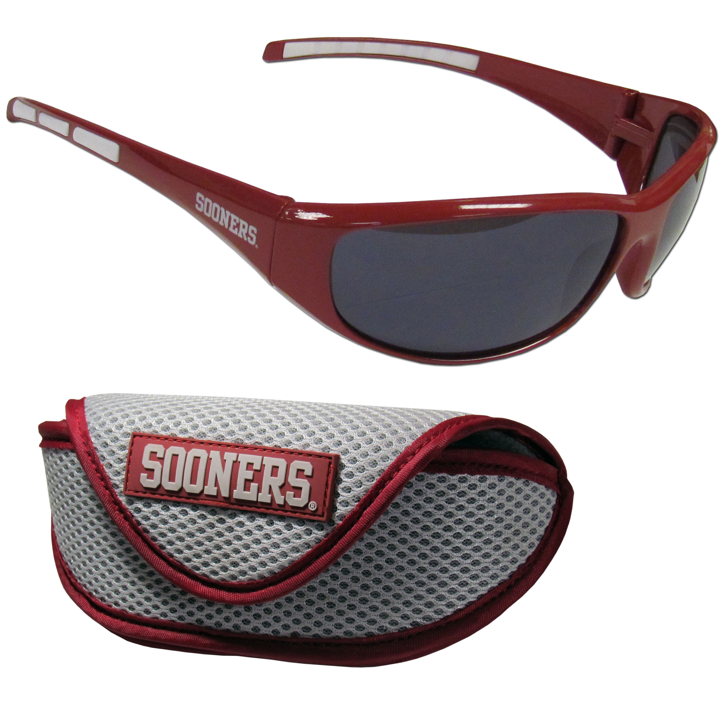 Oklahoma Sooners Wrap Sunglass and Case Set - This great set includes a high quality pair of Oklahoma Sooners wrap sunglasses and soft sport carrying case.