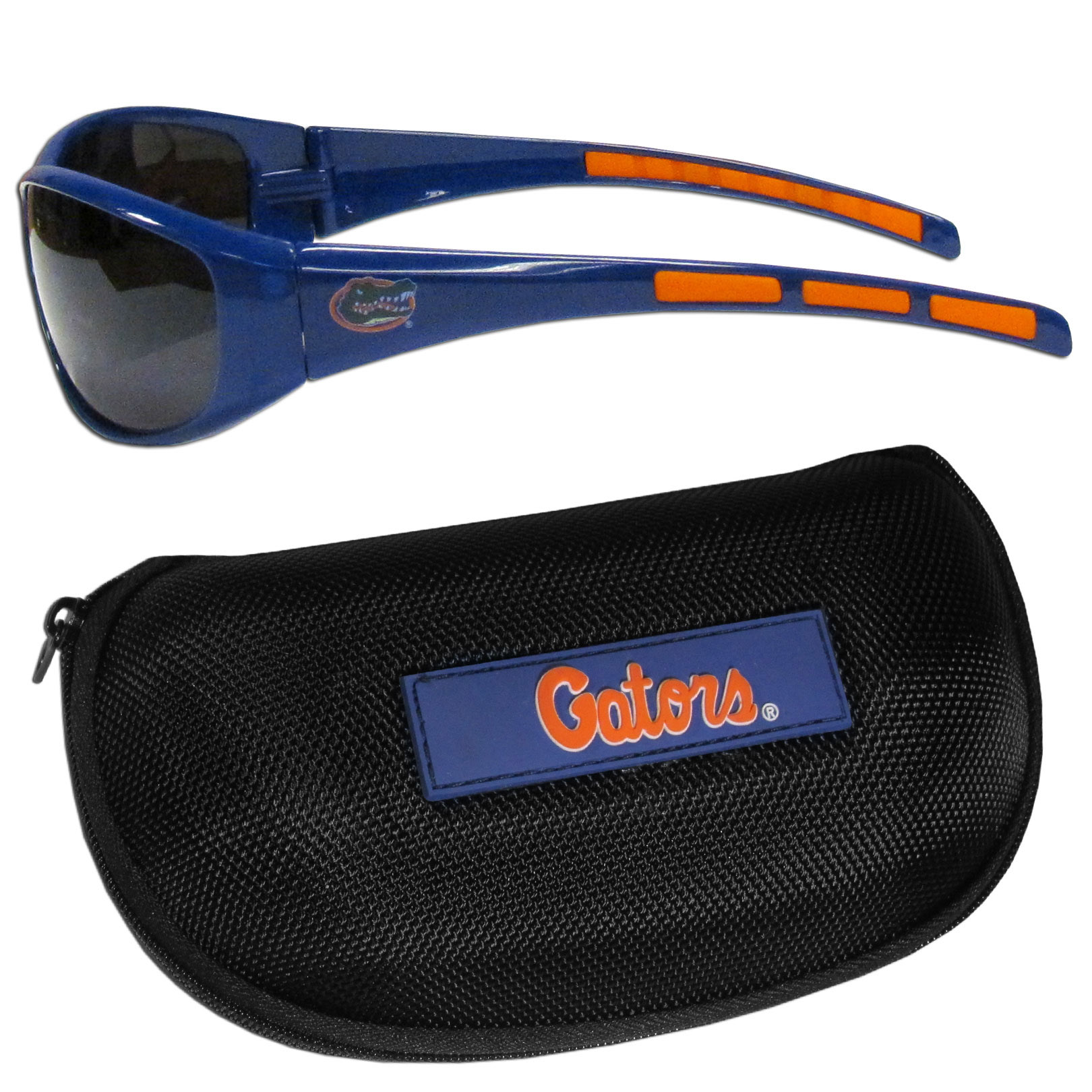 Florida Gators Wrap Sunglass and Case Set - This great set includes a high quality pair of Florida Gators wrap sunglasses and hard carrying case.