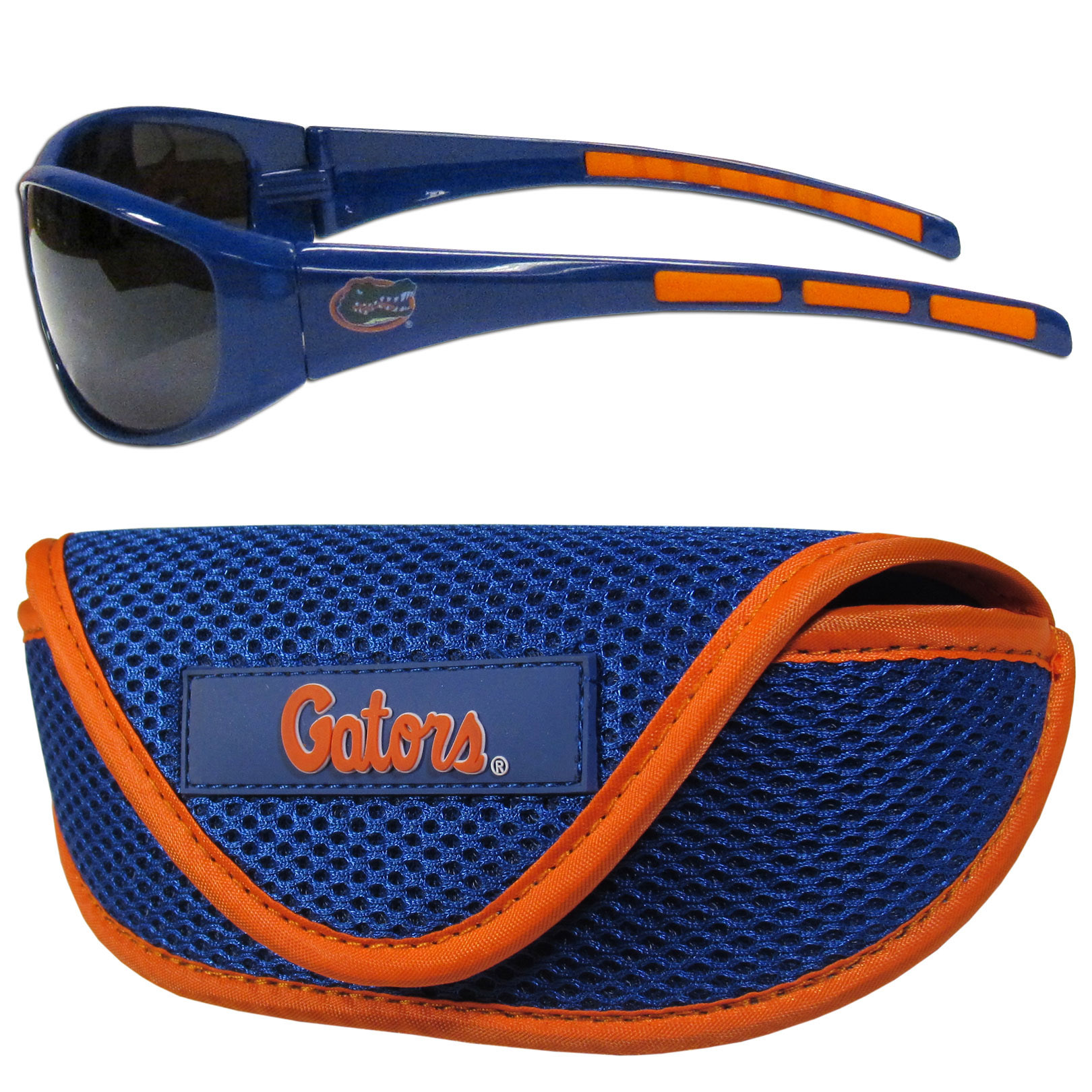 Florida Gators Wrap Sunglass and Case Set - This great set includes a high quality pair of Florida Gators wrap sunglasses and soft sport carrying case.