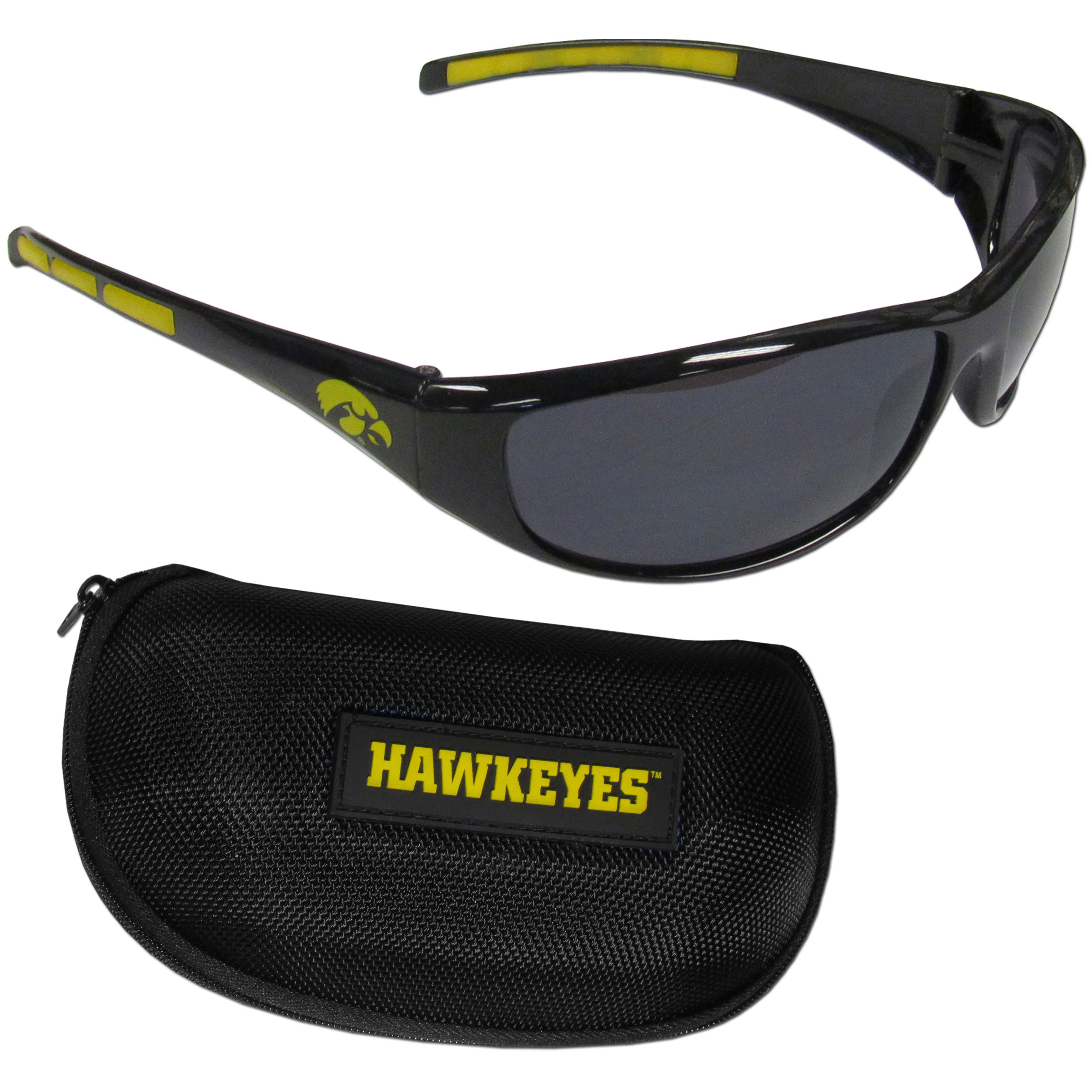 Iowa Hawkeyes Wrap Sunglass and Case Set - This great set includes a high quality pair of Iowa Hawkeyes wrap sunglasses and hard carrying case.