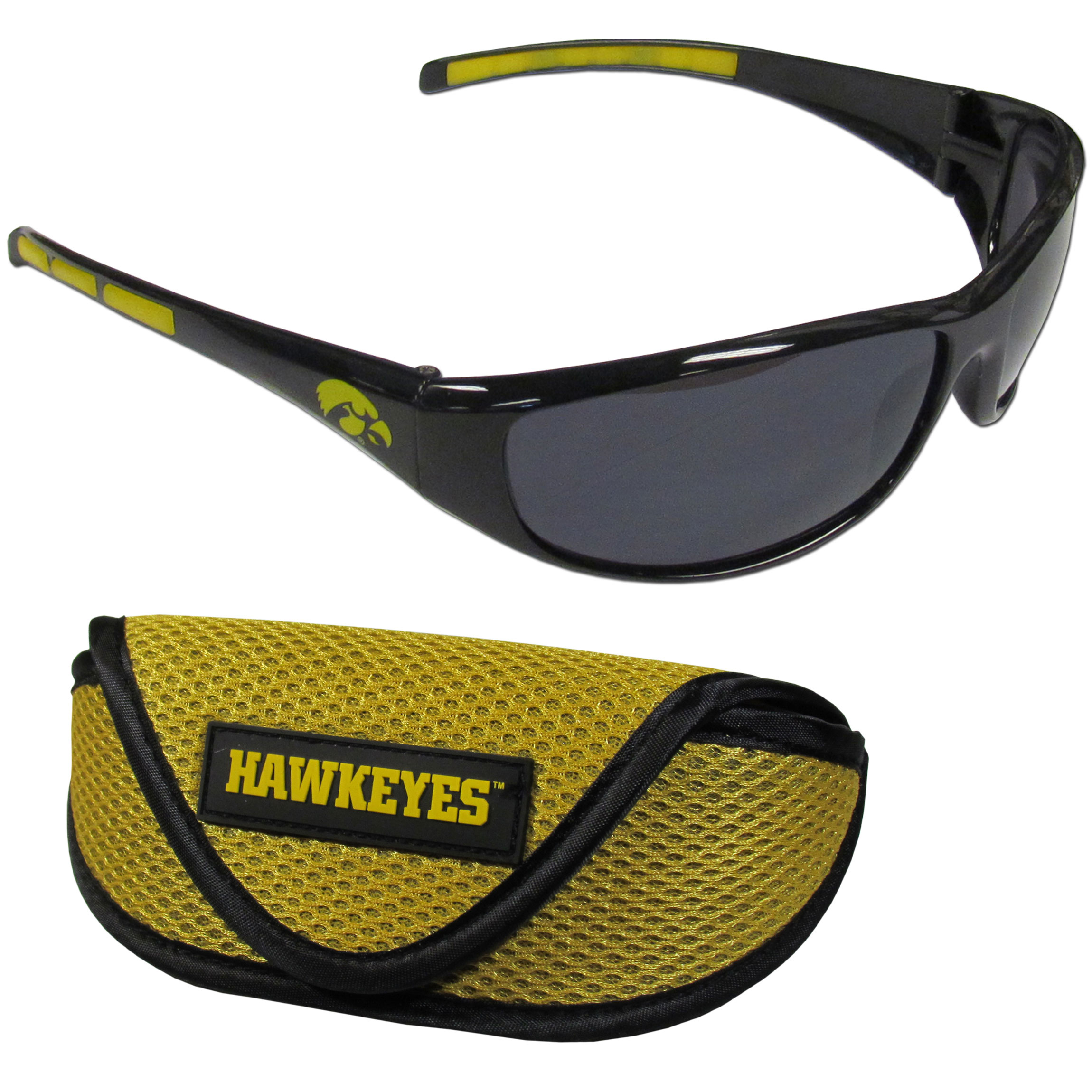 Iowa Hawkeyes Wrap Sunglass and Case Set - This great set includes a high quality pair of Iowa Hawkeyes wrap sunglasses and soft sport carrying case.