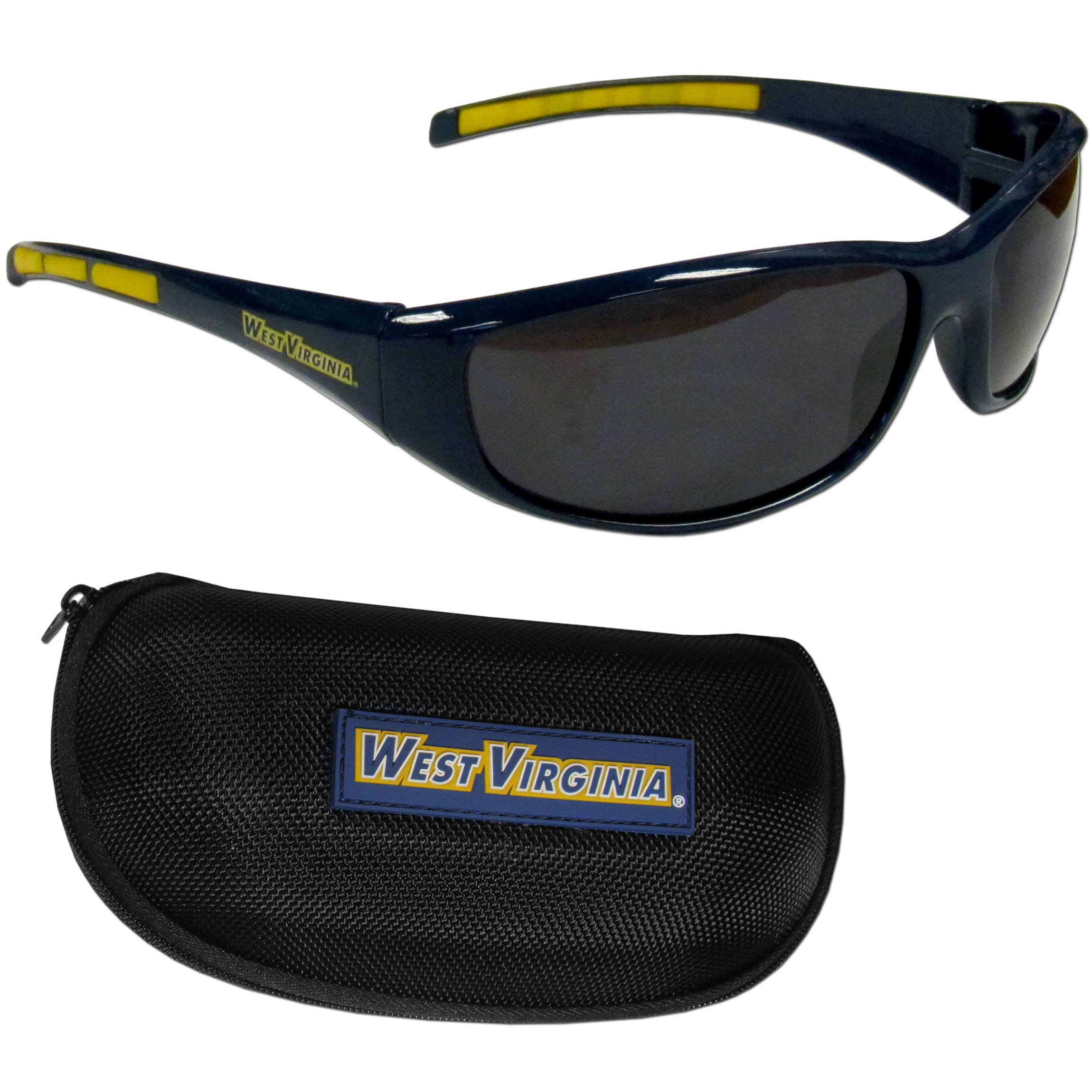 W. Virginia Mountaineers Wrap Sunglass and Case Set - This great set includes a high quality pair of W. Virginia Mountaineers wrap sunglasses and hard carrying case.