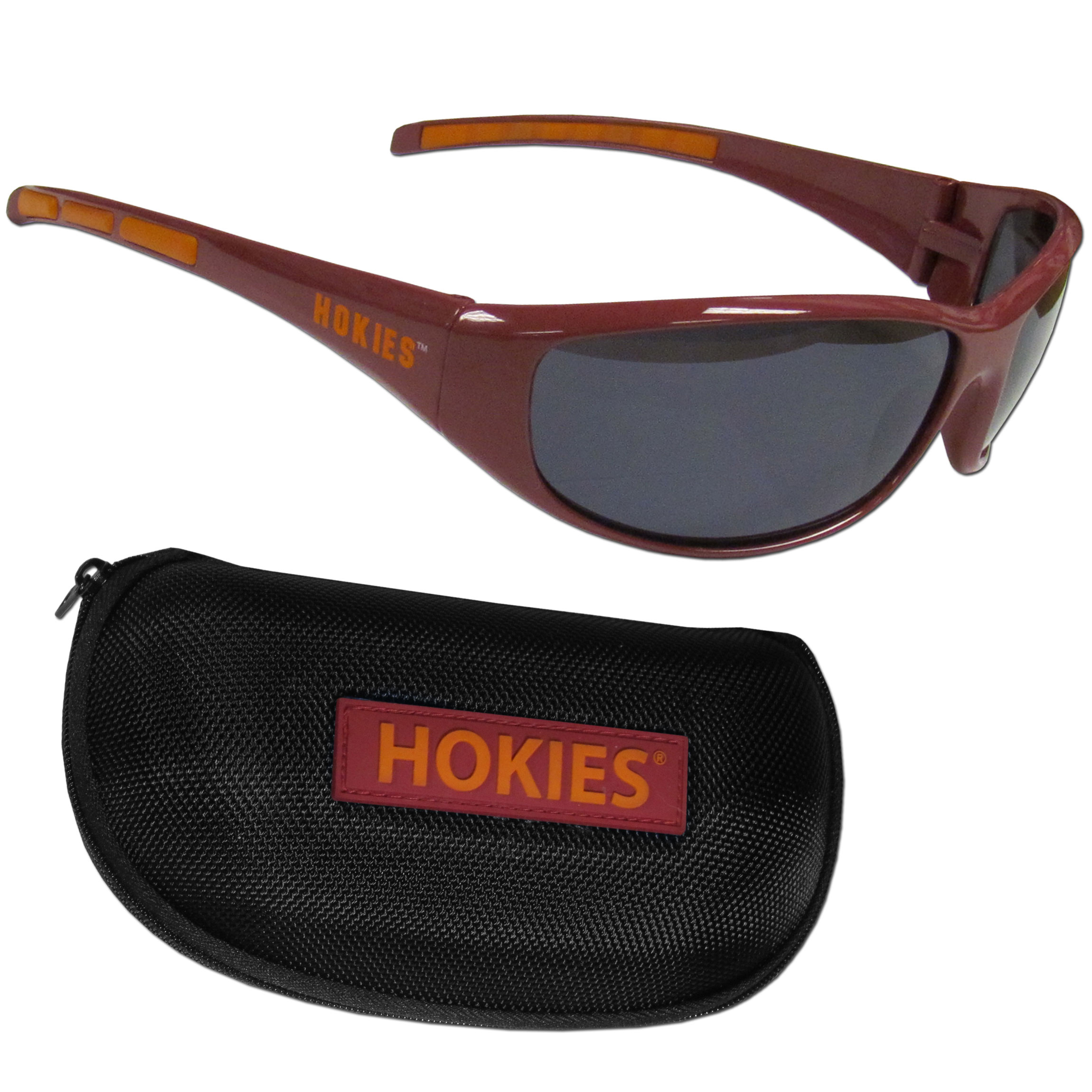 Virginia Tech Hokies Wrap Sunglass and Case Set - This great set includes a high quality pair of Virginia Tech Hokies wrap sunglasses and hard carrying case.