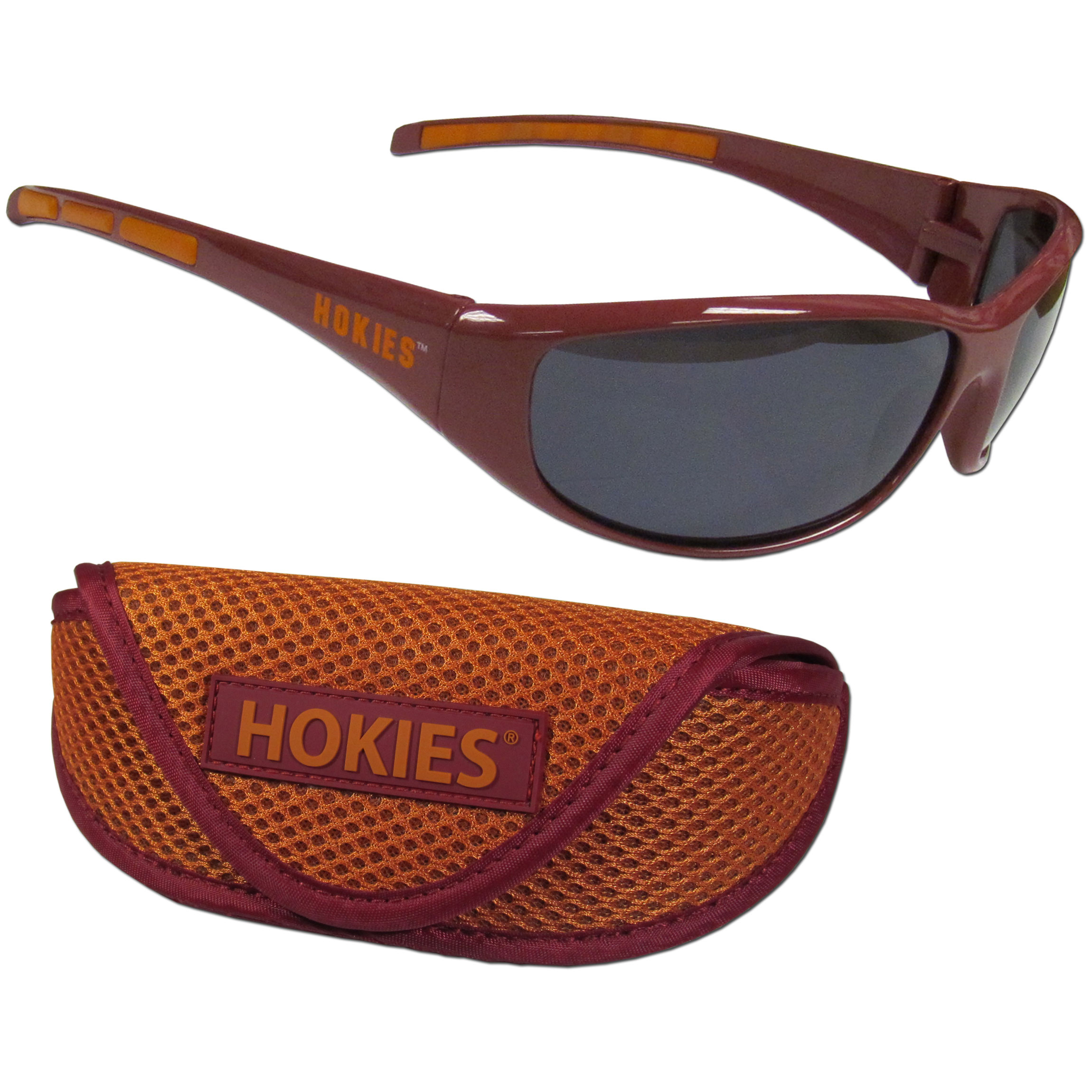 Virginia Tech Hokies Wrap Sunglass and Case Set - This great set includes a high quality pair of Virginia Tech Hokies wrap sunglasses and soft sport carrying case.