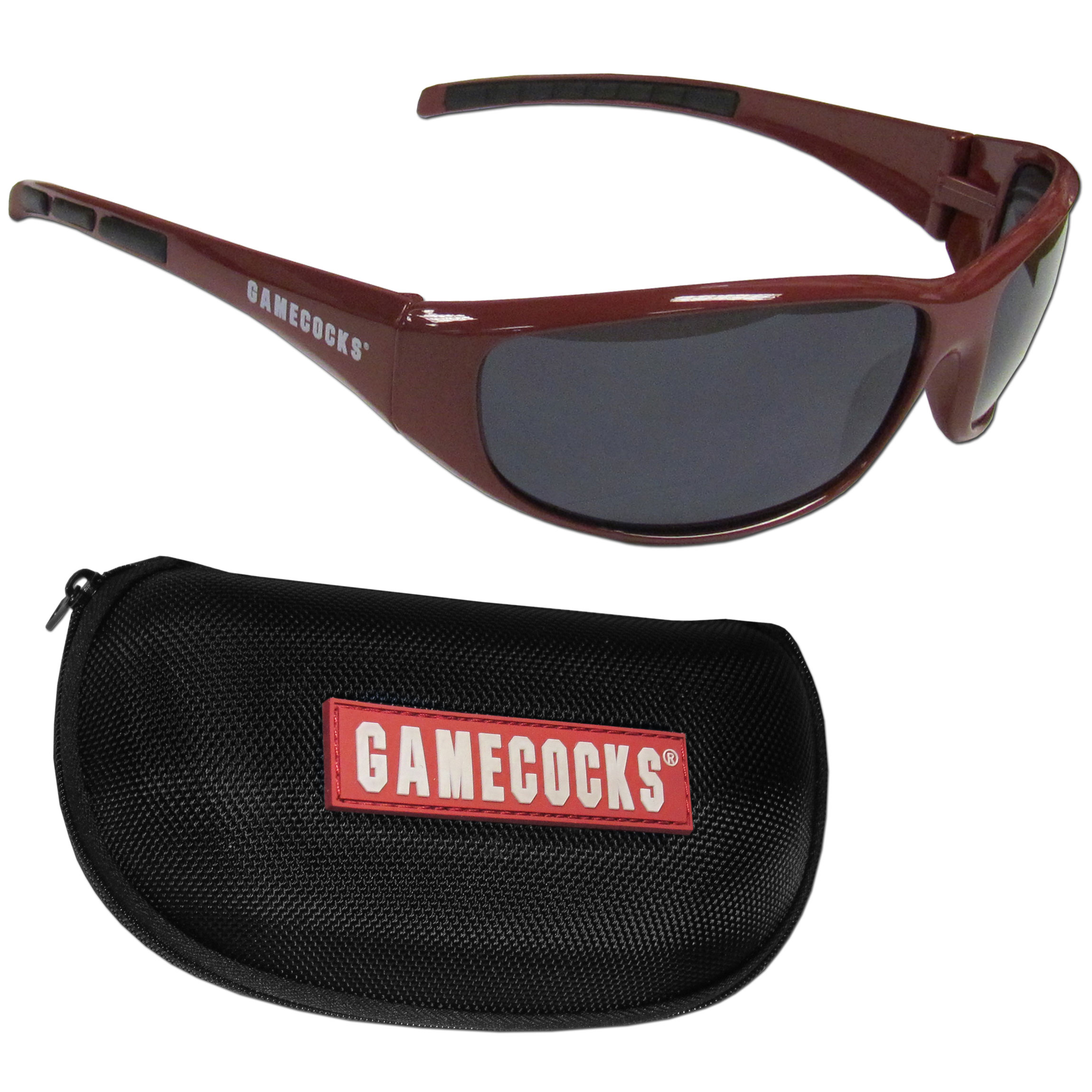 S. Carolina Gamecocks Wrap Sunglass and Case Set - This great set includes a high quality pair of S. Carolina Gamecocks wrap sunglasses and hard carrying case.