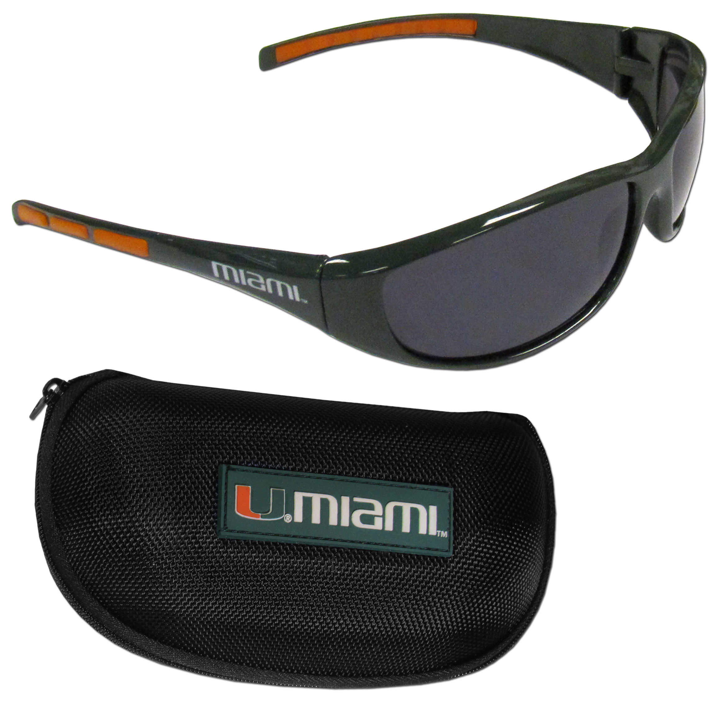 Miami Hurricanes Wrap Sunglass and Case Set - This great set includes a high quality pair of Miami Hurricanes wrap sunglasses and hard carrying case.