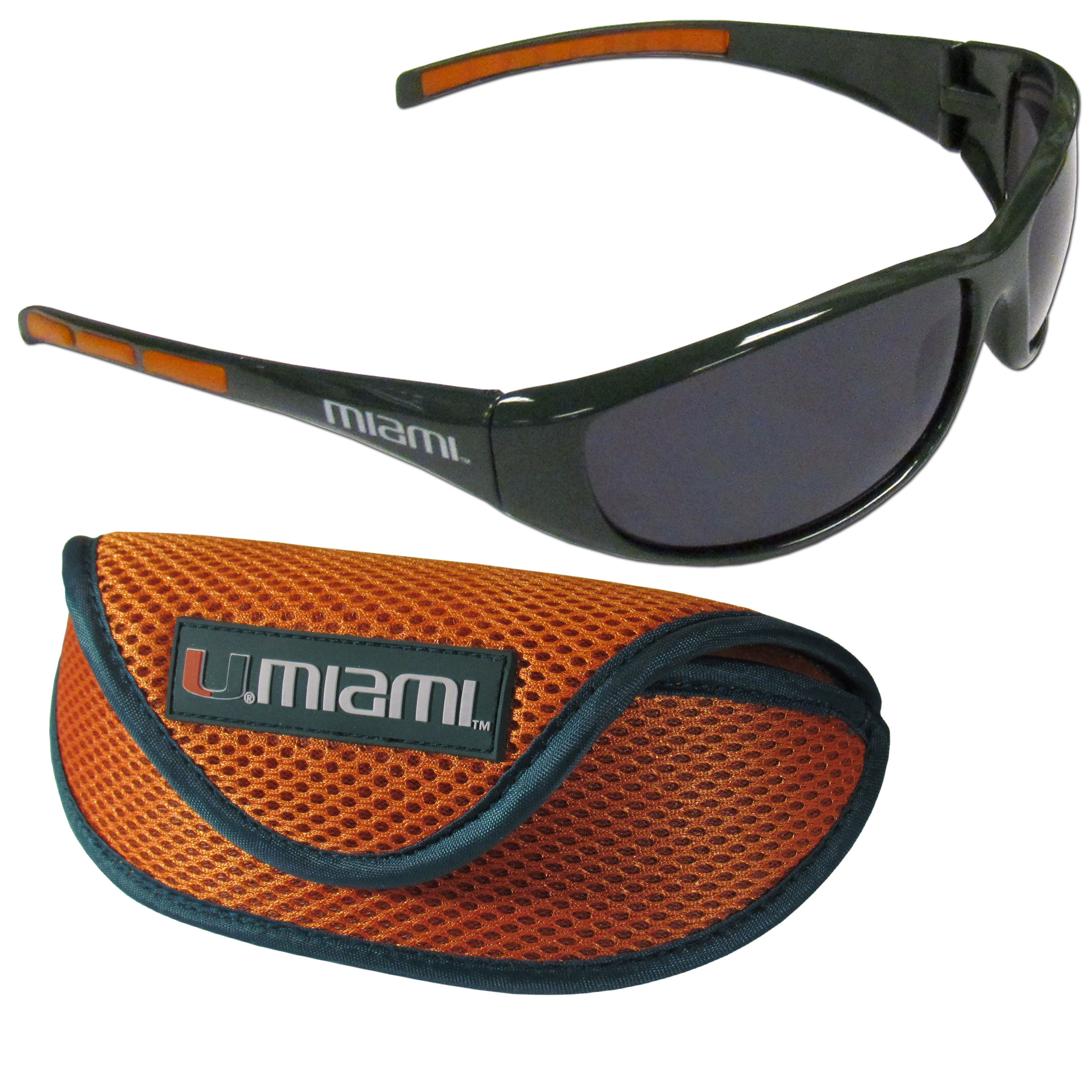 Miami Hurricanes Wrap Sunglass and Case Set - This great set includes a high quality pair of Miami Hurricanes wrap sunglasses and soft sport carrying case.