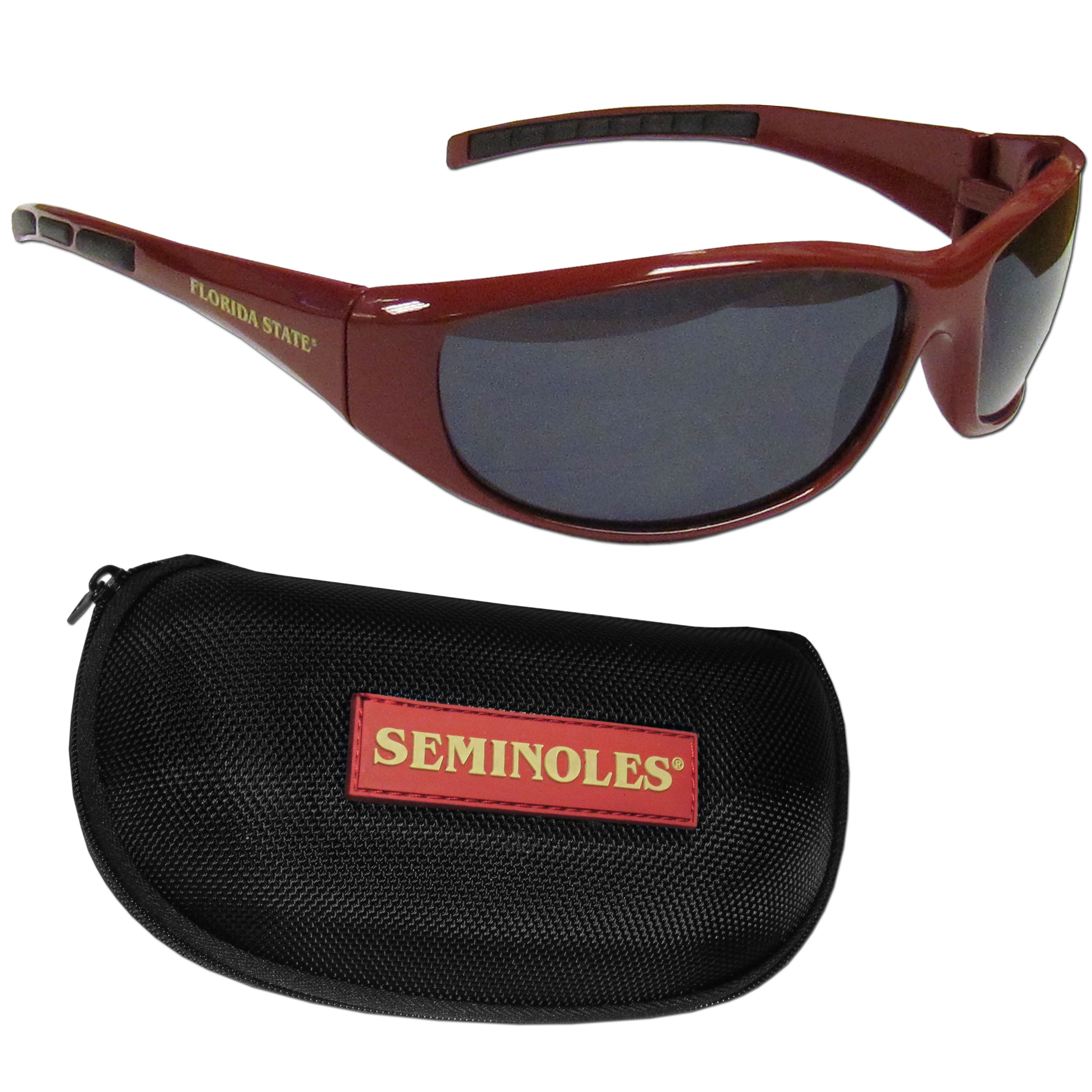 Florida St. Seminoles Wrap Sunglass and Case Set - This great set includes a high quality pair of Florida St. Seminoles wrap sunglasses and hard carrying case.