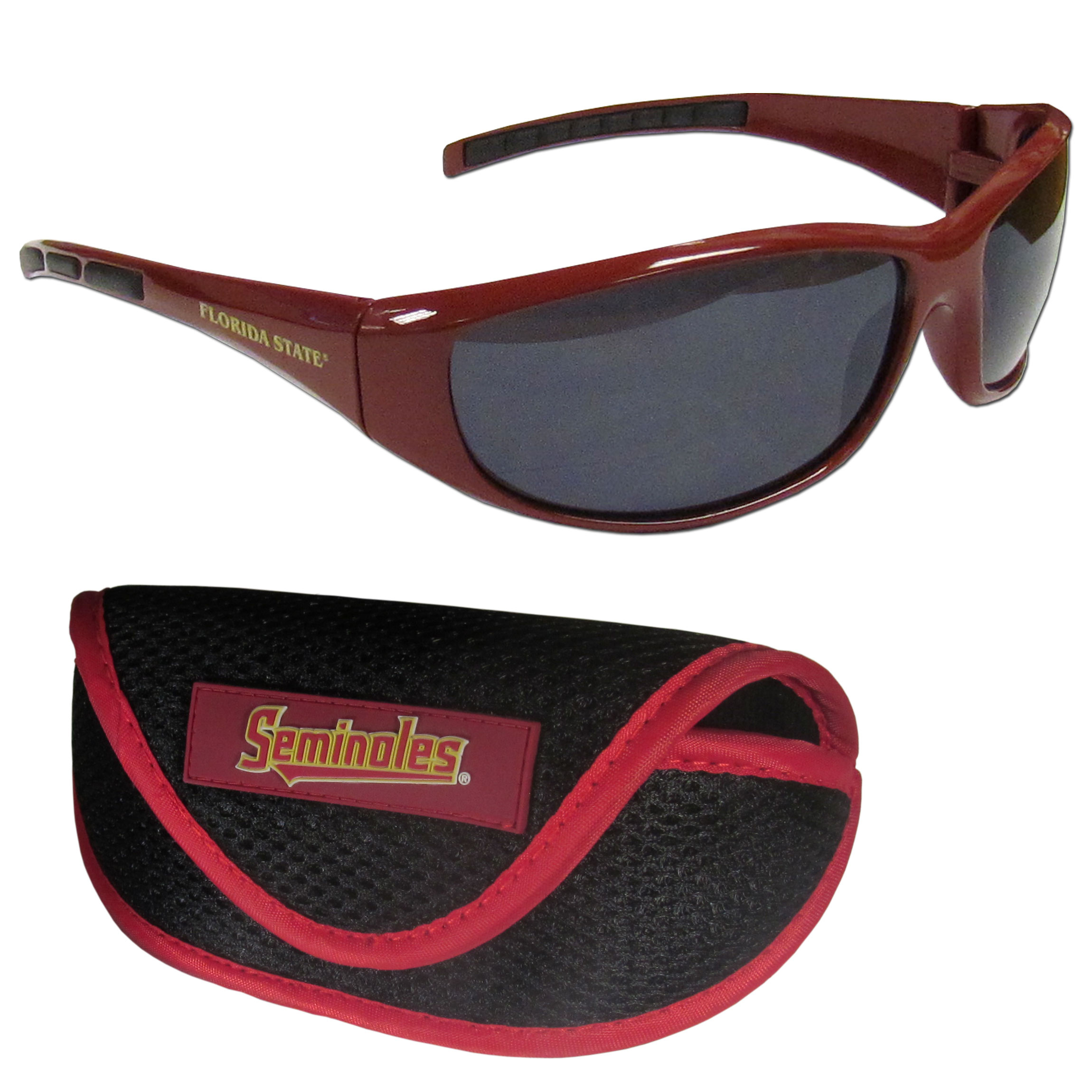 Florida St. Seminoles Wrap Sunglass and Case Set - This great set includes a high quality pair of Florida St. Seminoles wrap sunglasses and soft sport carrying case.