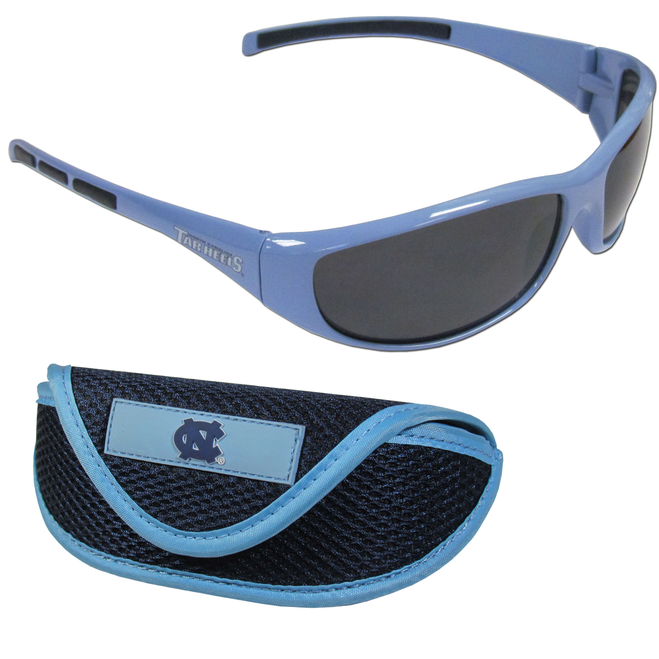 N. Carolina Tar Heels Wrap Sunglass and Case Set - This great set includes a high quality pair of N. Carolina Tar Heels wrap sunglasses and soft sport carrying case.