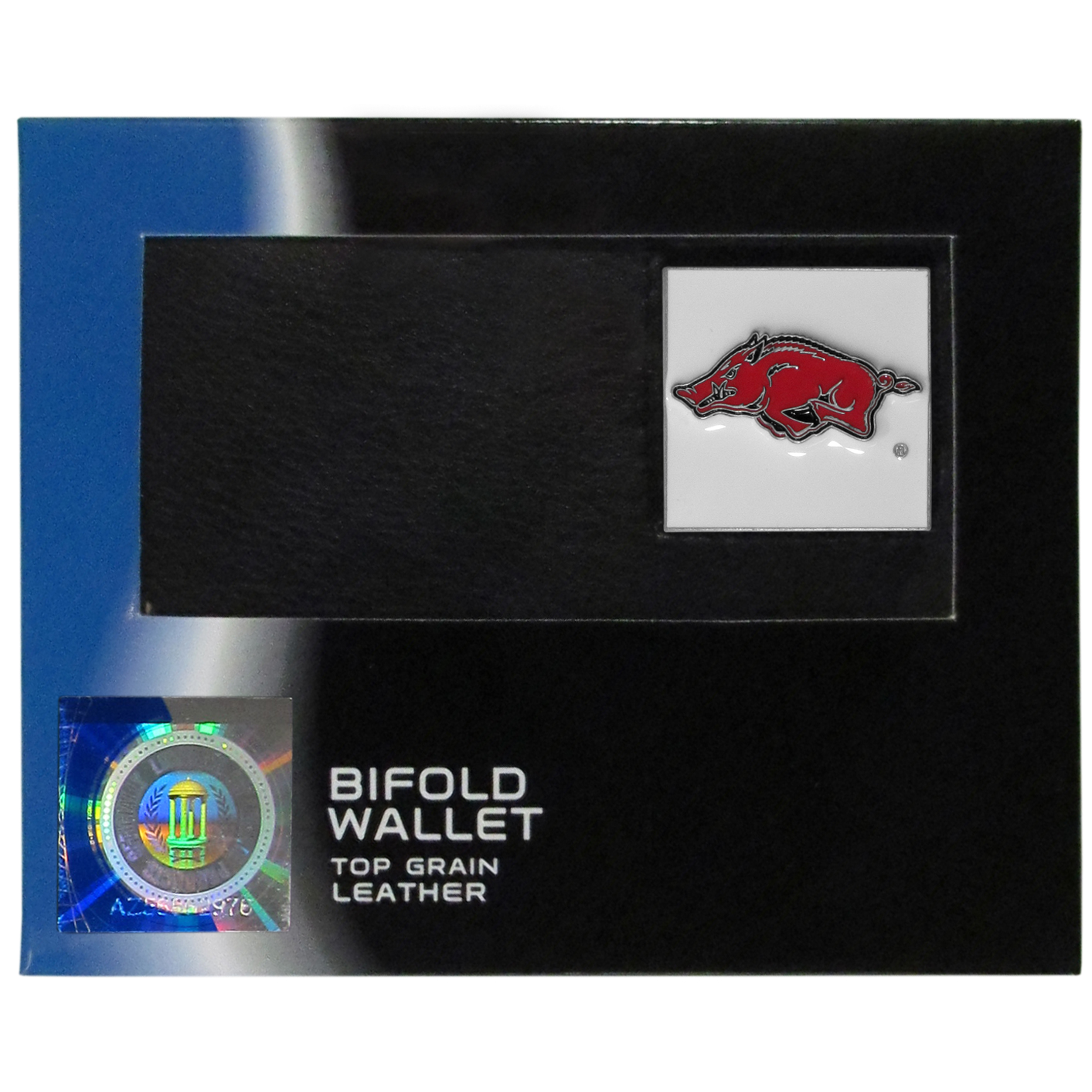 College Bi-fold Wallet Box - Arkansas Razorbacks - Our Arkansas Razorbacks college Bi-fold wallet is made of high quality fine grain leather and includes credit card slots and photo sleeves. Arkansas Razorbacks school logo is sculpted and enameled with fine detail on the front panel. Packaged in a window box. Thank you for shopping with CrazedOutSports.com