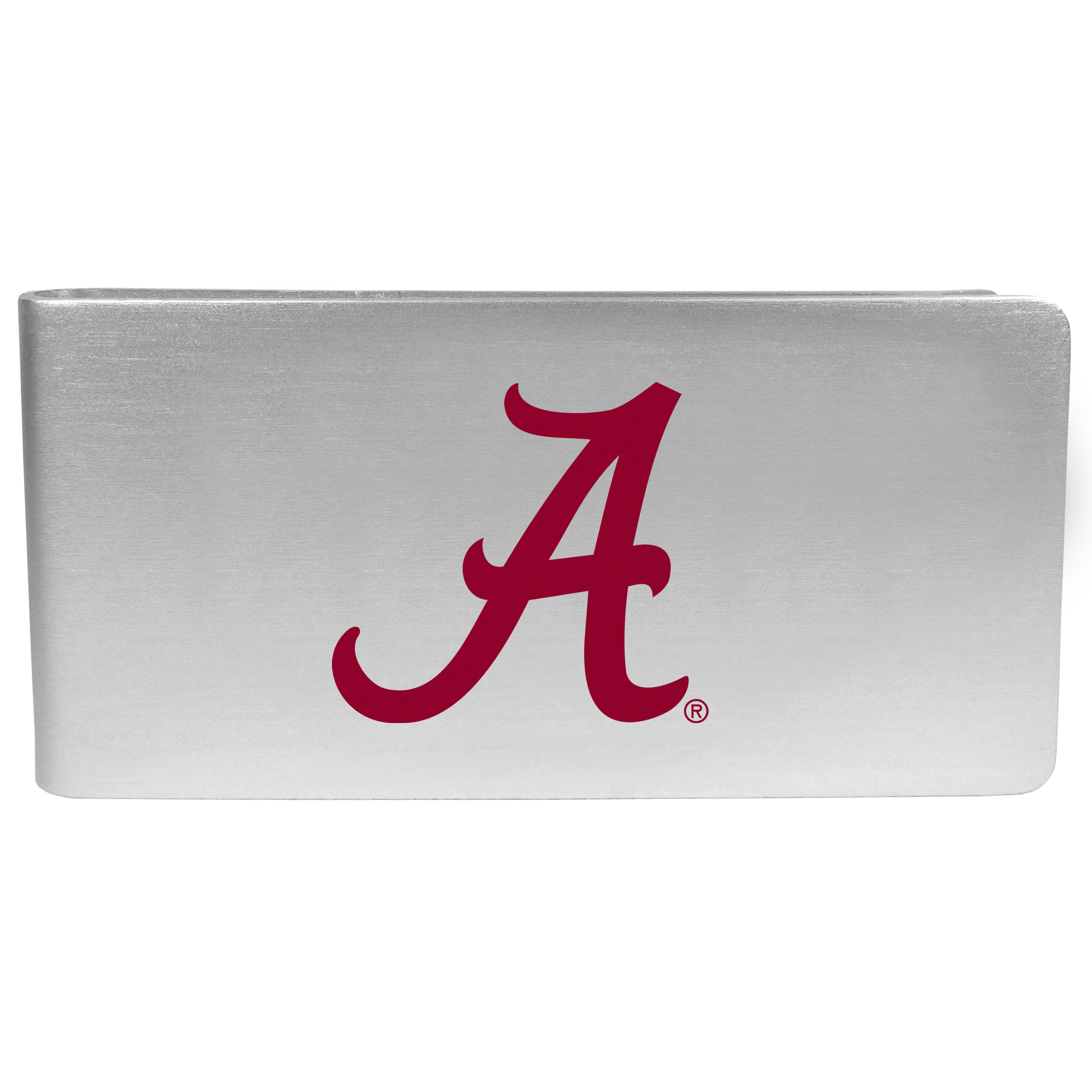 Alabama Crimson Tide Logo Money Clip - Our brushed metal money clip has classic style and functionality. The attractive clip features the Alabama Crimson Tide logo expertly printed on front.