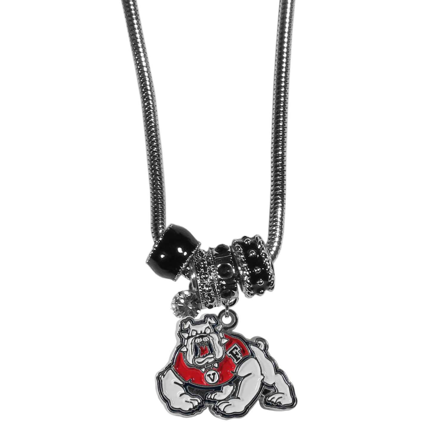 Fresno St. Bulldogs Euro Bead Necklace - We have combined the wildly popular Euro style beads with your favorite team to create our Fresno St. Bulldogs bead necklace. The 18 inch snake chain features 4 Euro beads with enameled team colors and rhinestone accents with a high polish, nickel free charm and rhinestone charm. Perfect way to show off your team pride.